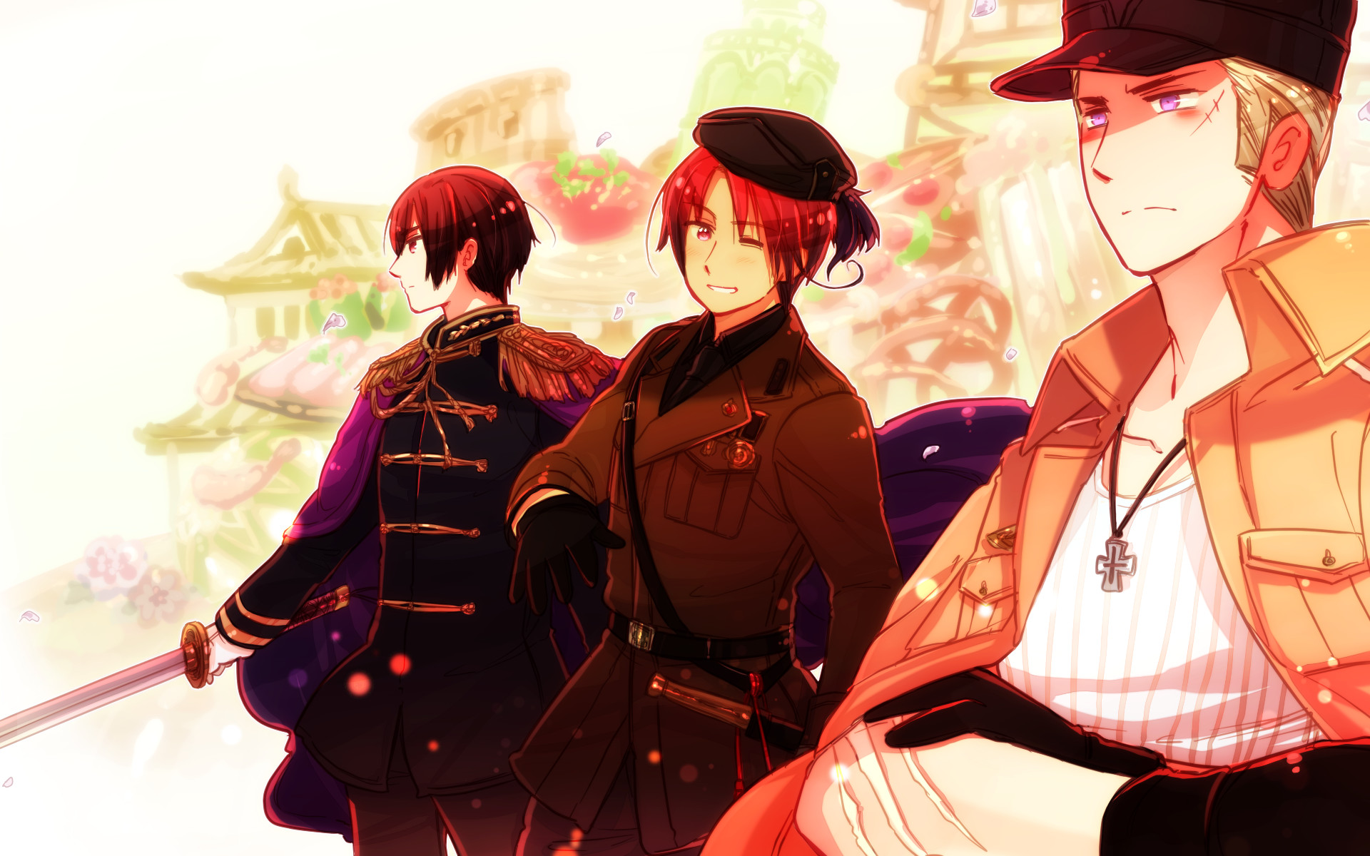 1920x1200 Tags: Anime, Rosel D, Axis Powers: Hetalia, Germany, North Italy
