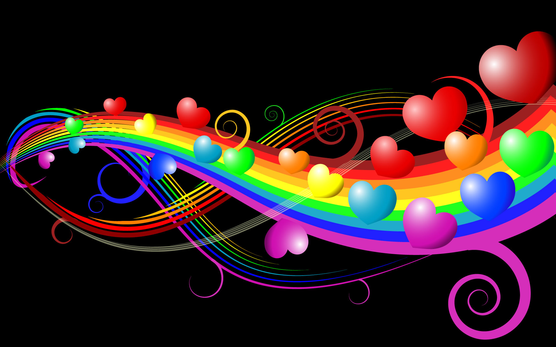1920x1200 Colorful Hearts Wallpaper For Android #teO