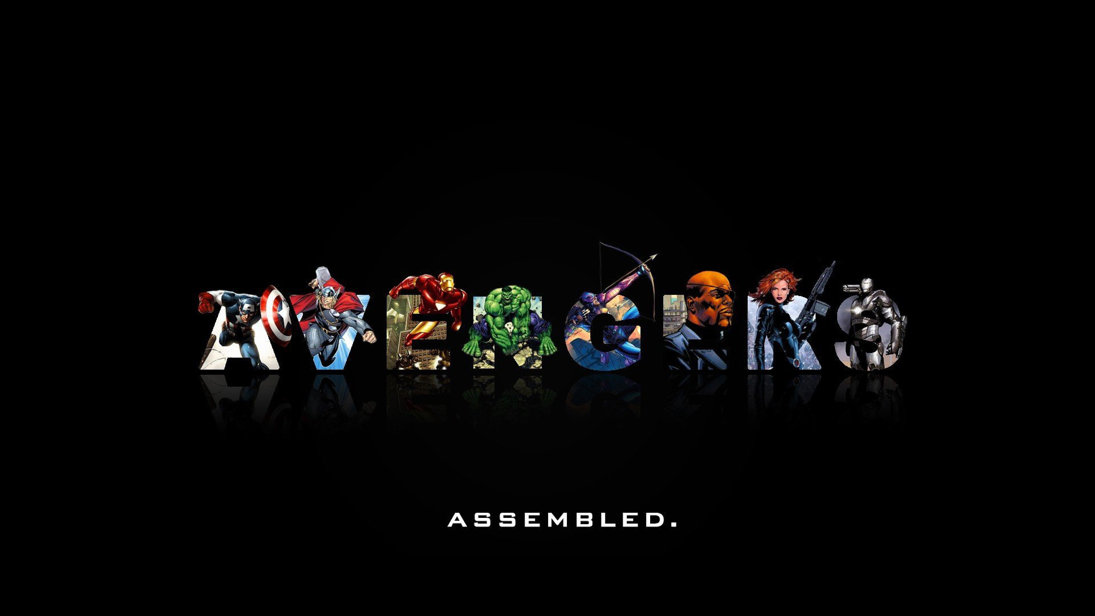 3840x2160 Preview wallpaper marvel comics, the avengers, minimalism