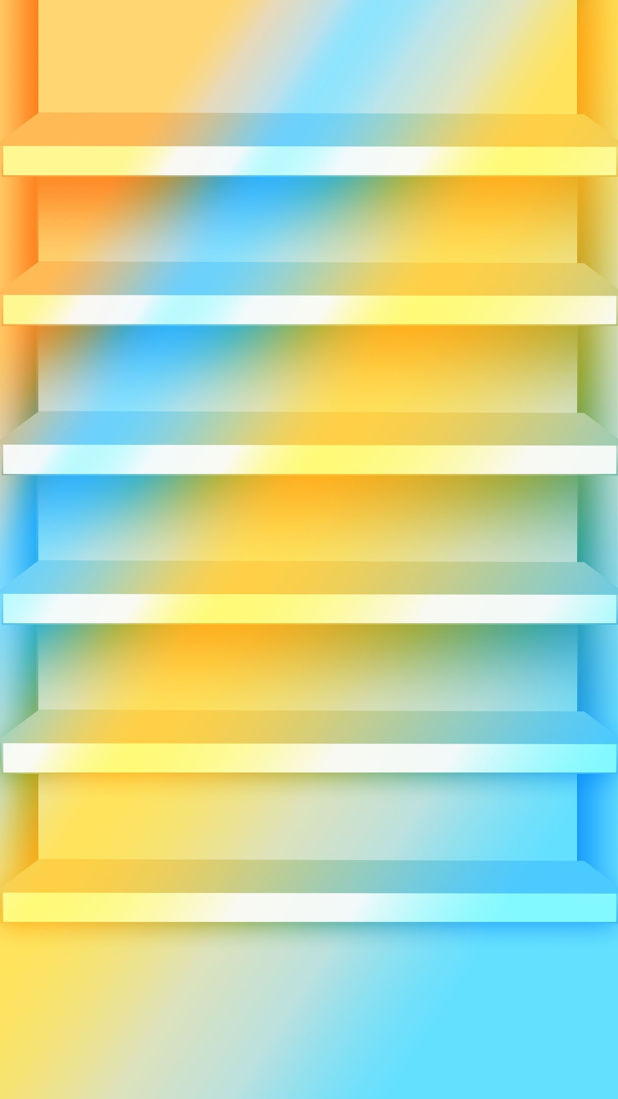 1242x2208 Shelves Stylish Blue Yellow Gradient Ombre Bright