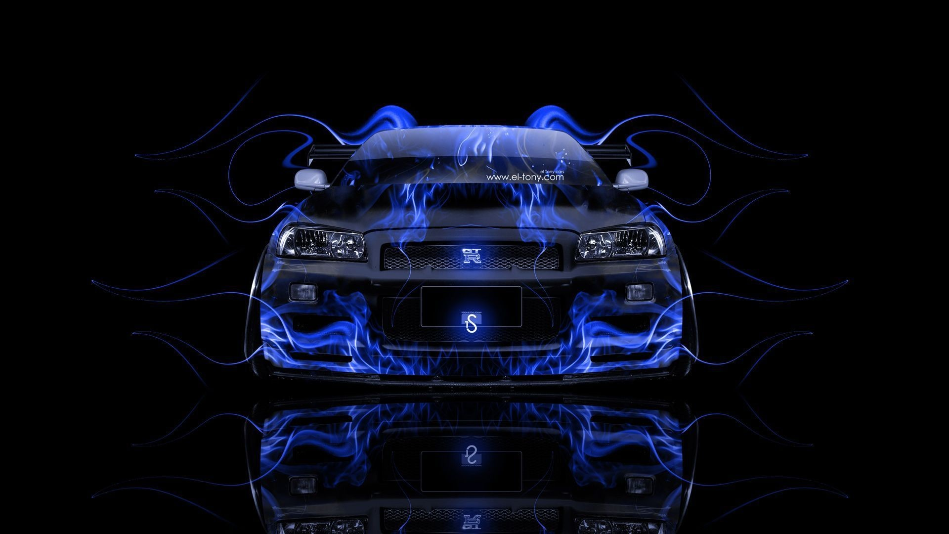 1920x1080 Nissan Skyline GTR R34 Front Fire Abstract Car 2014 Â« el Tony