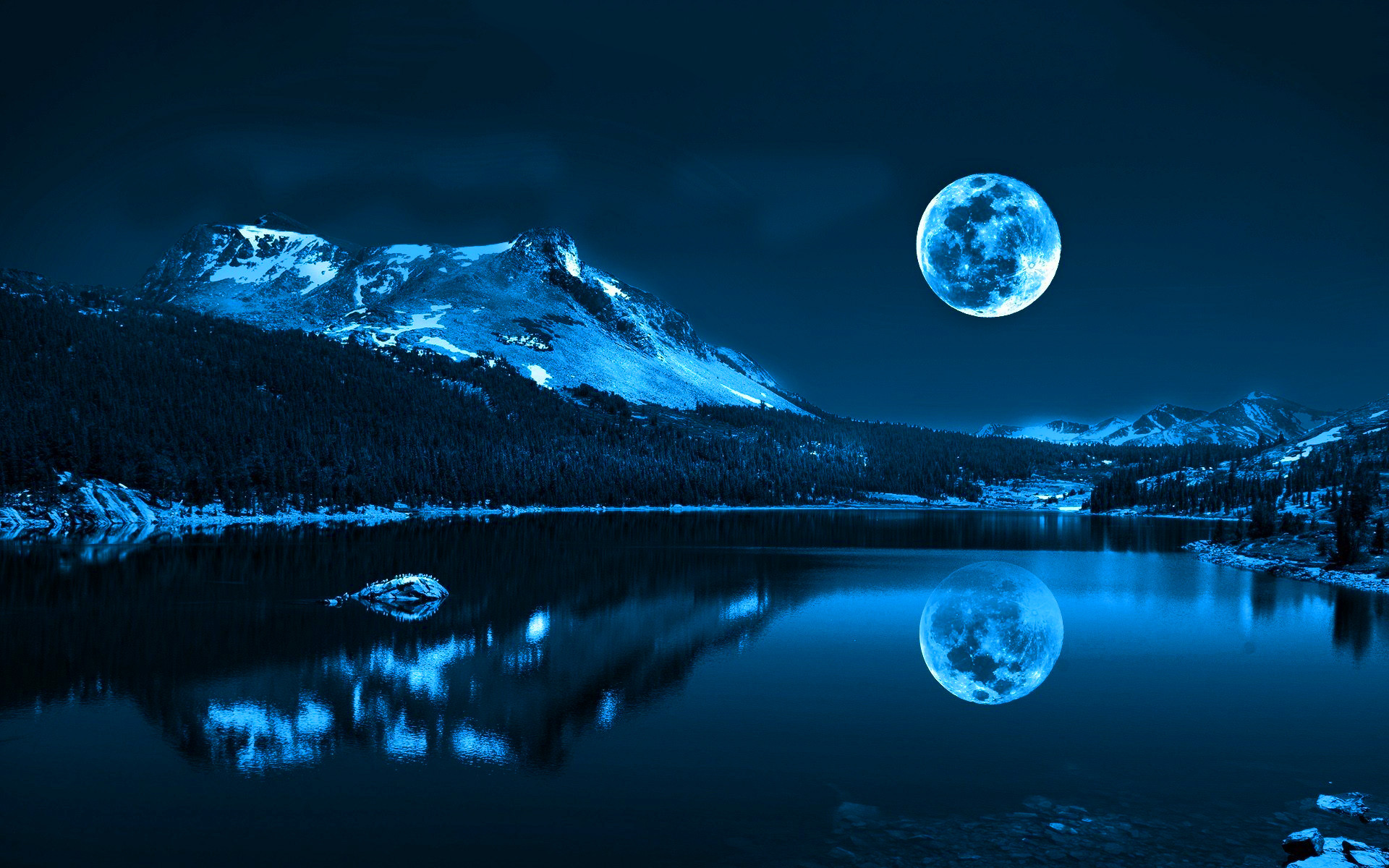 1920x1200 Related Wallpapers from Milky Way Wallpaper. Full moon over lake