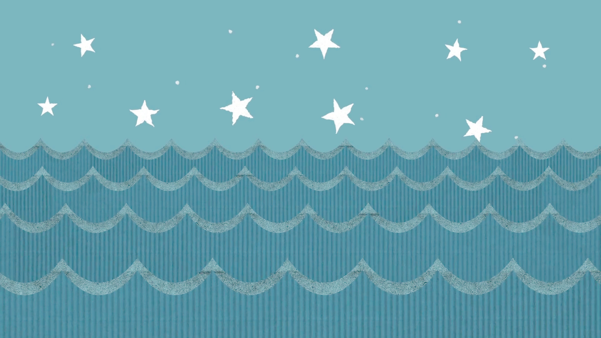 1920x1080 Theatrical Cardboard Sea Waves on a Cartoon Starry Night Sky Background