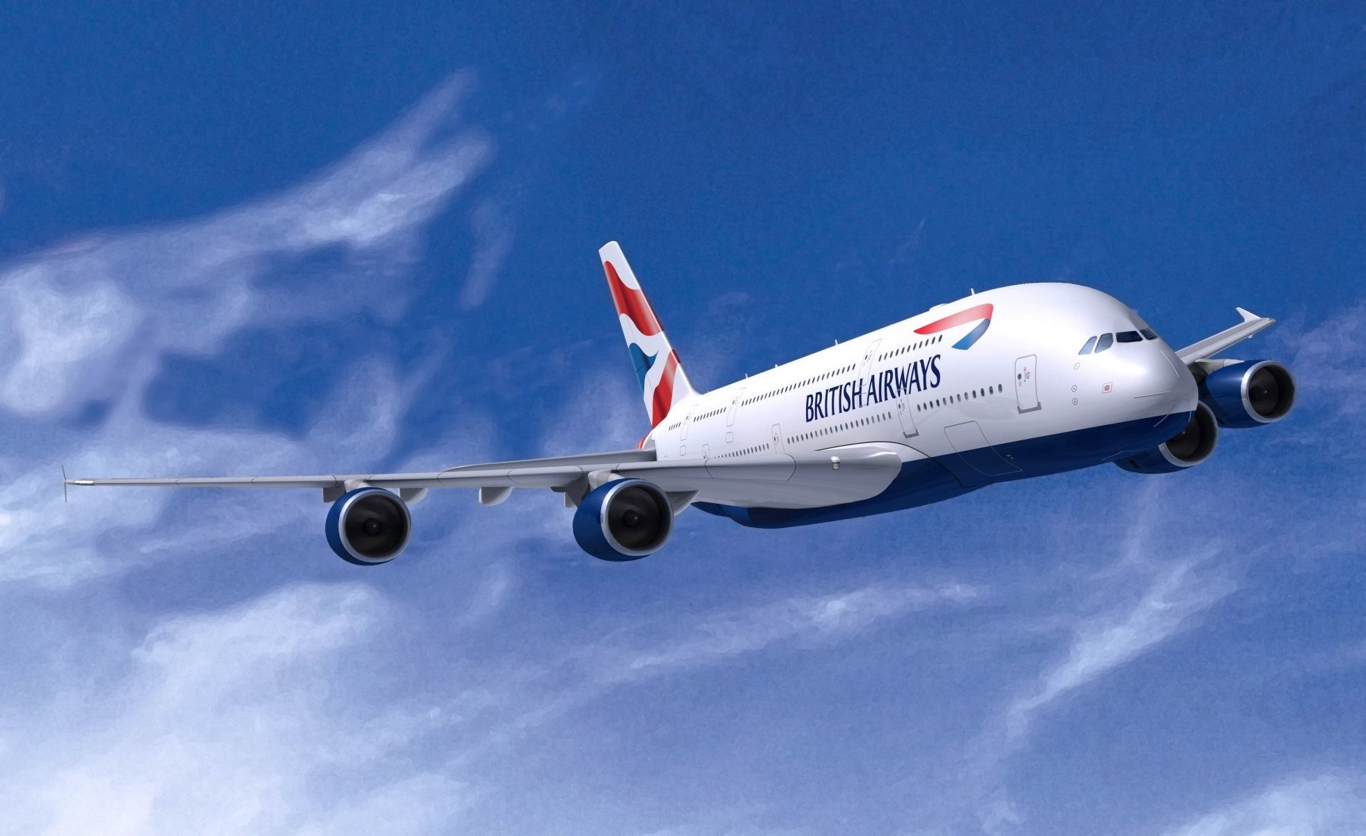 1961x1200 british airways airbus a380 in the air aviation flies plane airliner wings  white