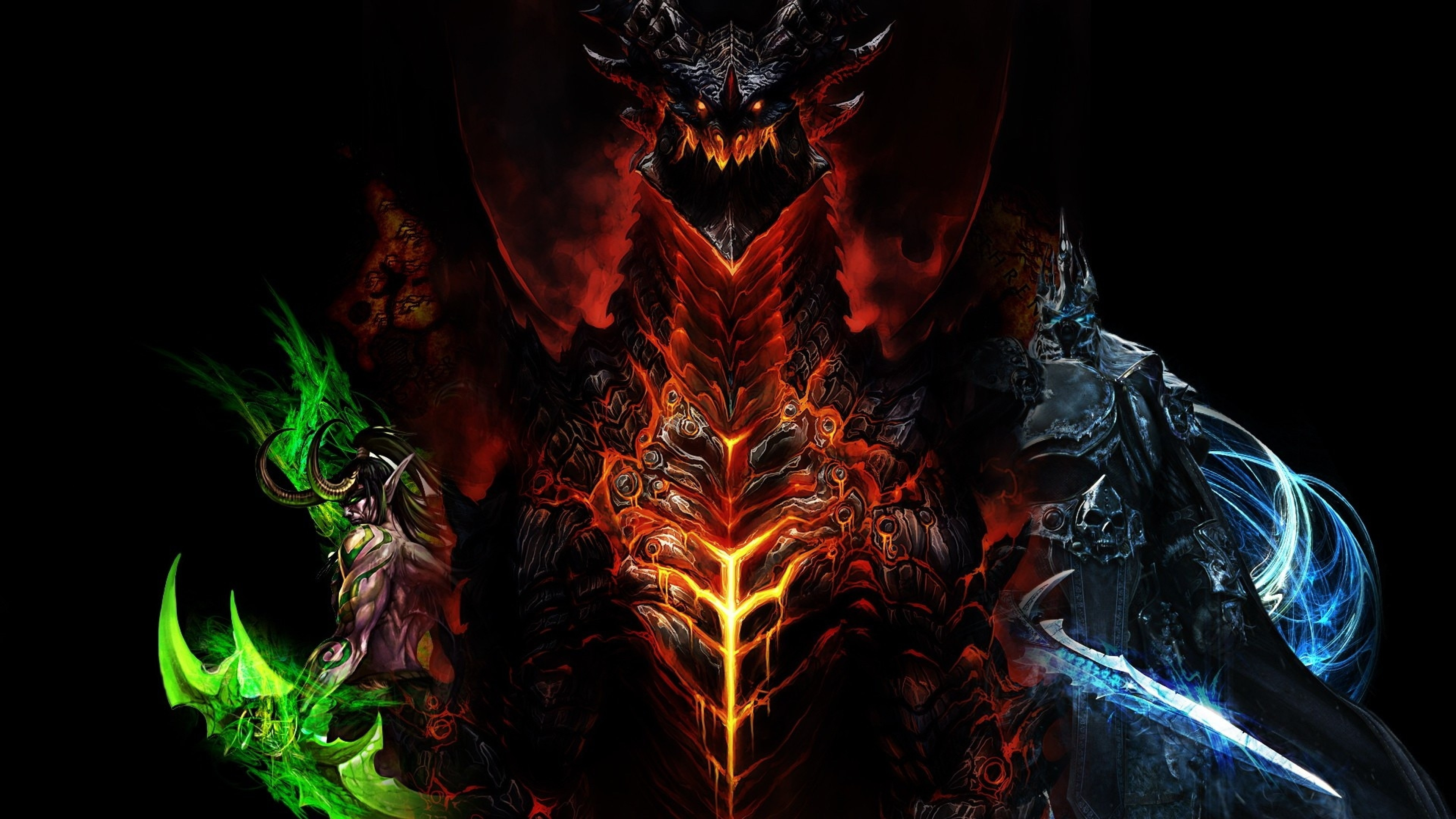 3840x2160 Preview wallpaper world of warcraft, dragon, characters, faces
