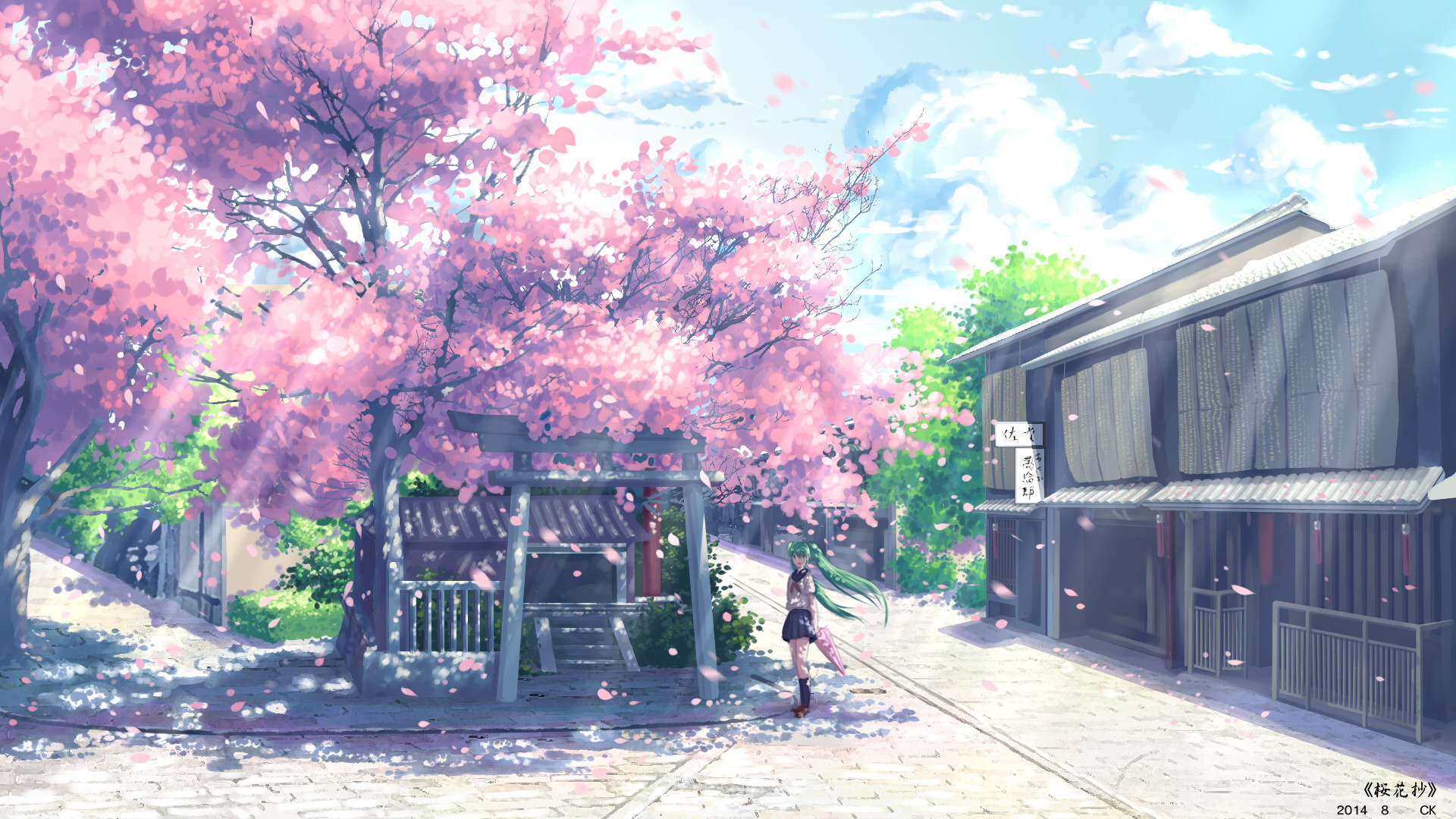 1920x1080 Vocaloid, Hatsune Miku, Anime, Cherry Blossom, School Uniform Wallpapers HD  / Desktop and Mobile Backgrounds