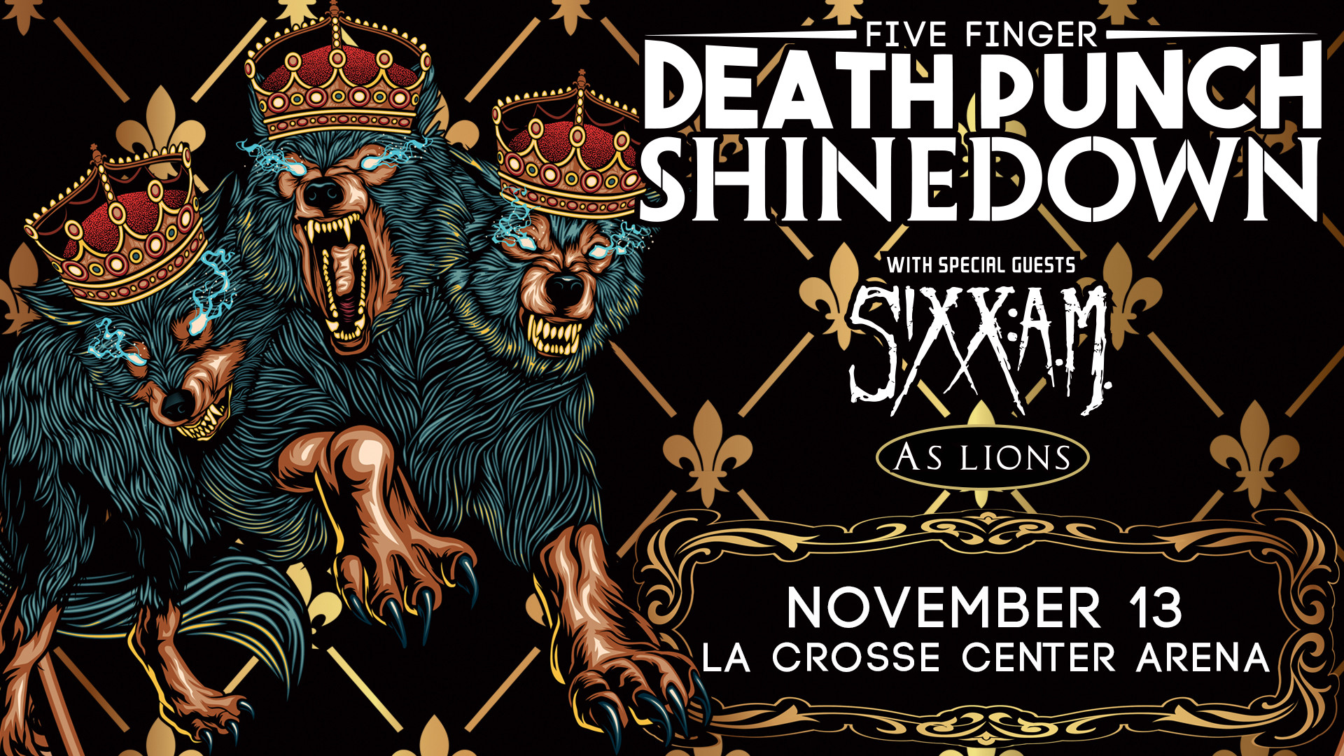 1920x1080 The loudest tour of Fall 2016: Five Finger Death Punch, Shinedown, Sixx AM,  and As Lions take over the La Crosse Center on Sunday, November 13th.