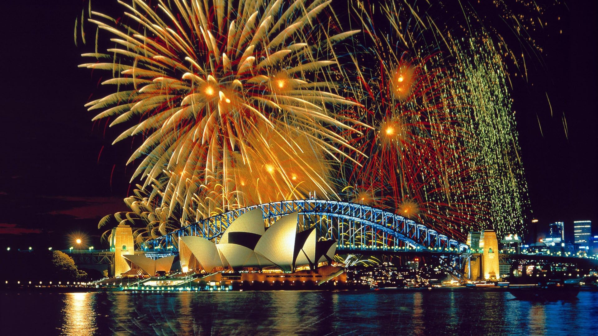 1920x1080 Sydney Opera House Fireworks HD Wallpaper. « »