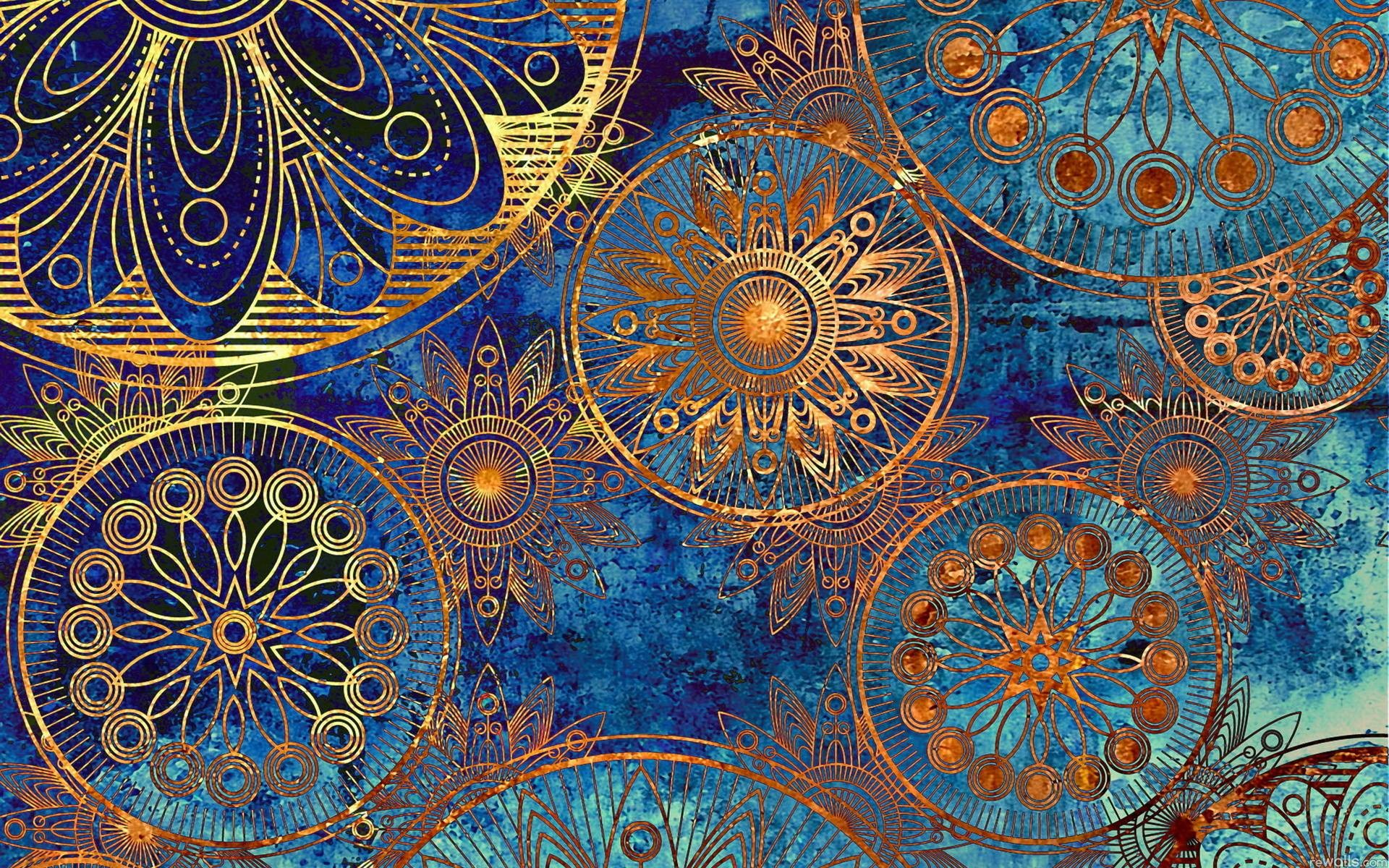 1920x1200 Vintage Drawings on Blue Background | Background and Texture