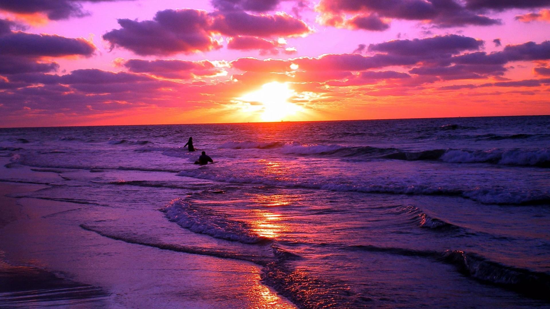 1920x1200 Sunset Beach Wallpaper Wide