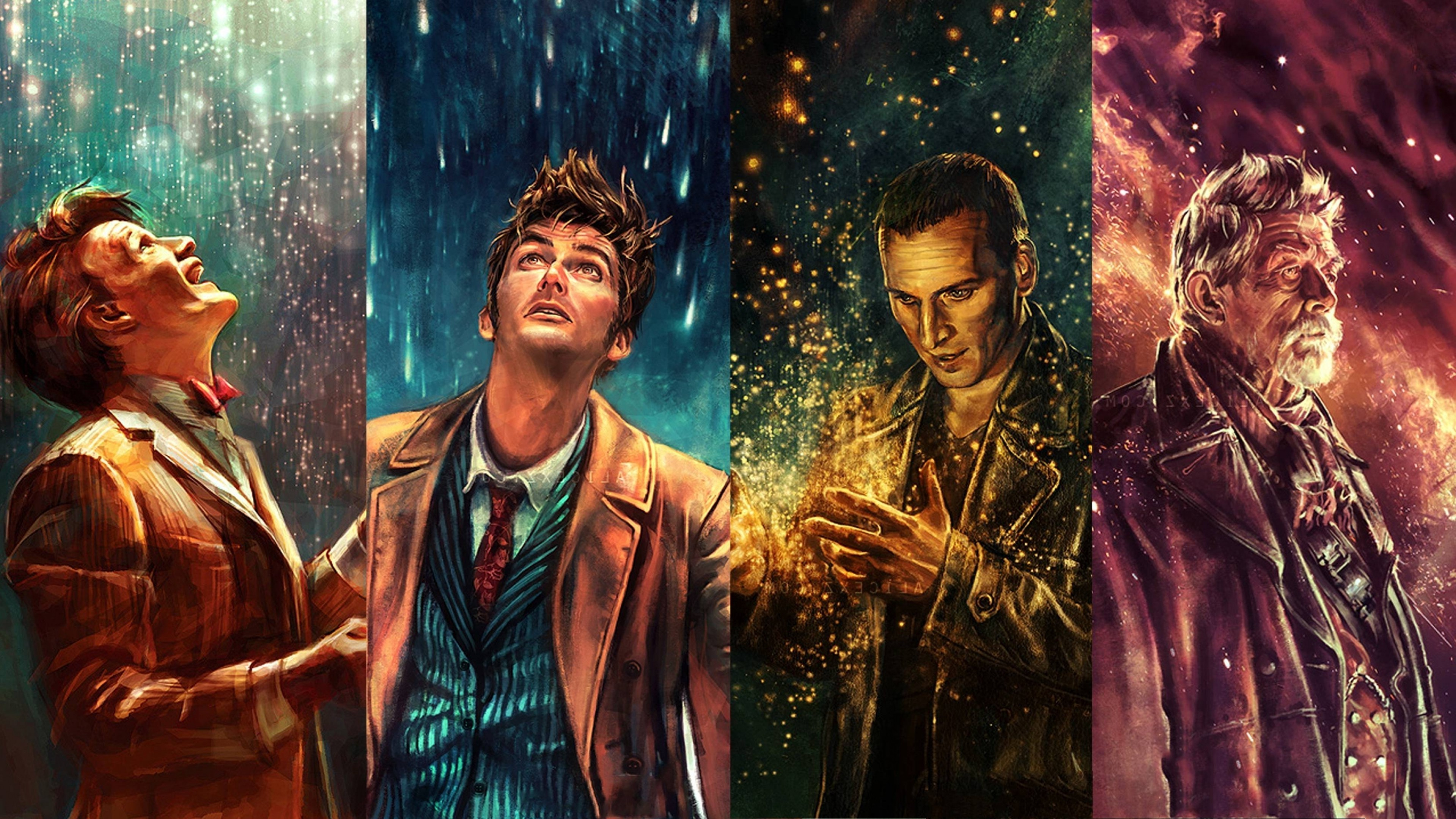 3840x2160  Doctor Who, The Doctor, War Doctor, Ninth Doctor, Tenth Doctor,