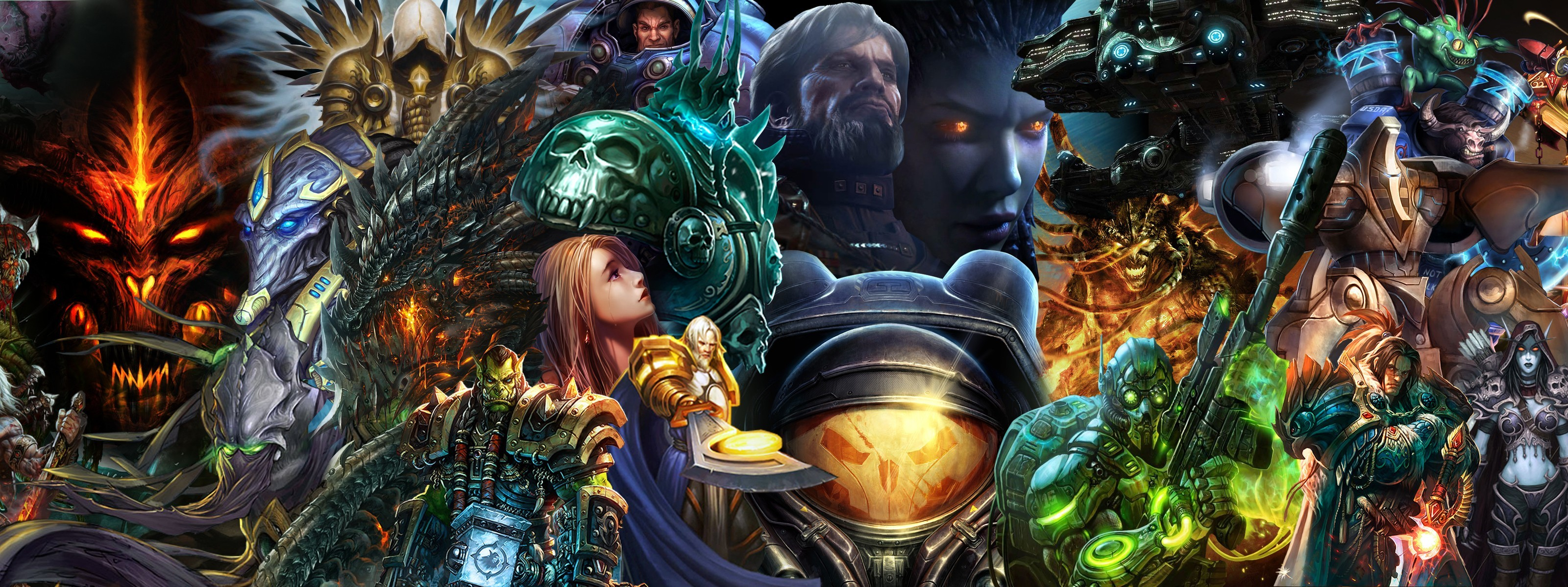 3200x1200 blizzard Diablo World of Warcraft Starcraft characters fantasy dual  wallpaper