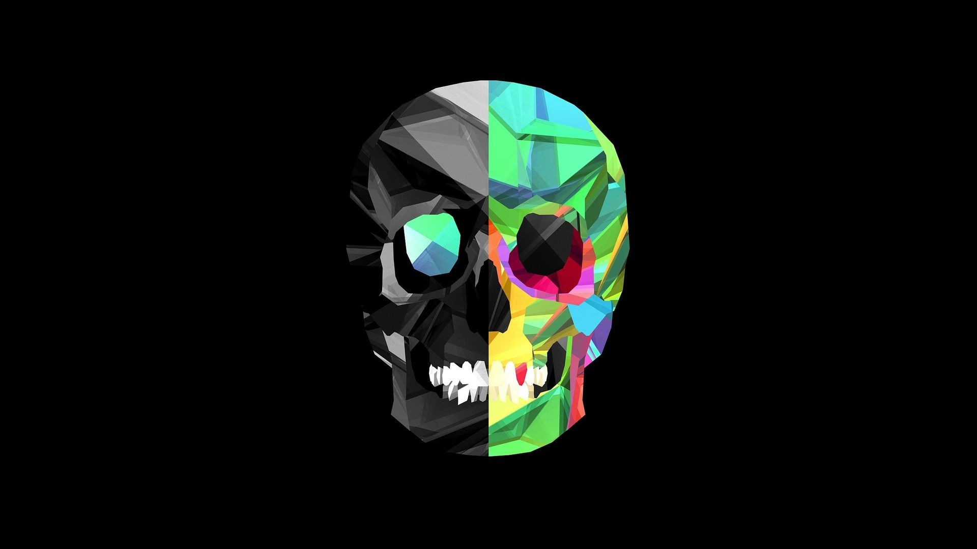 1920x1080 Cool Images of Colorful Skull