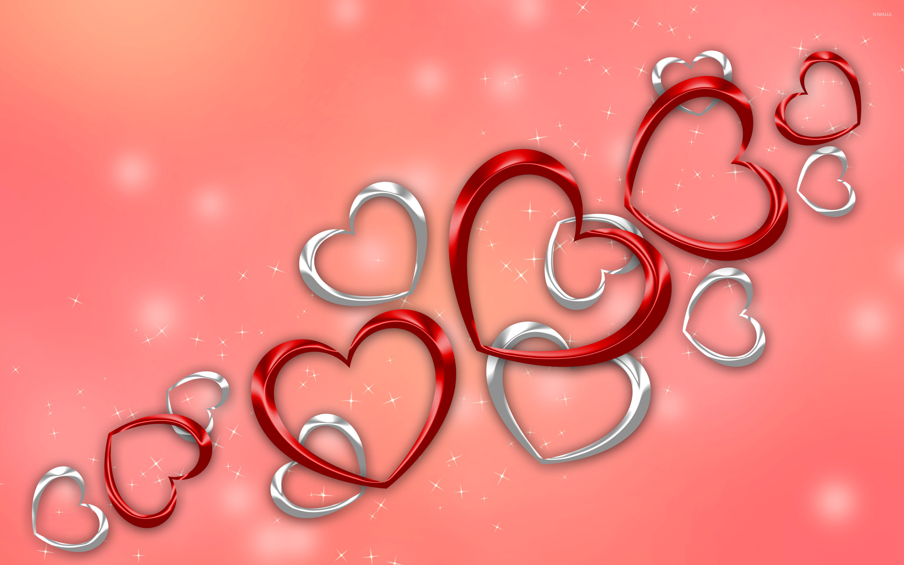 2880x1800 Red and silver hearts wallpaper