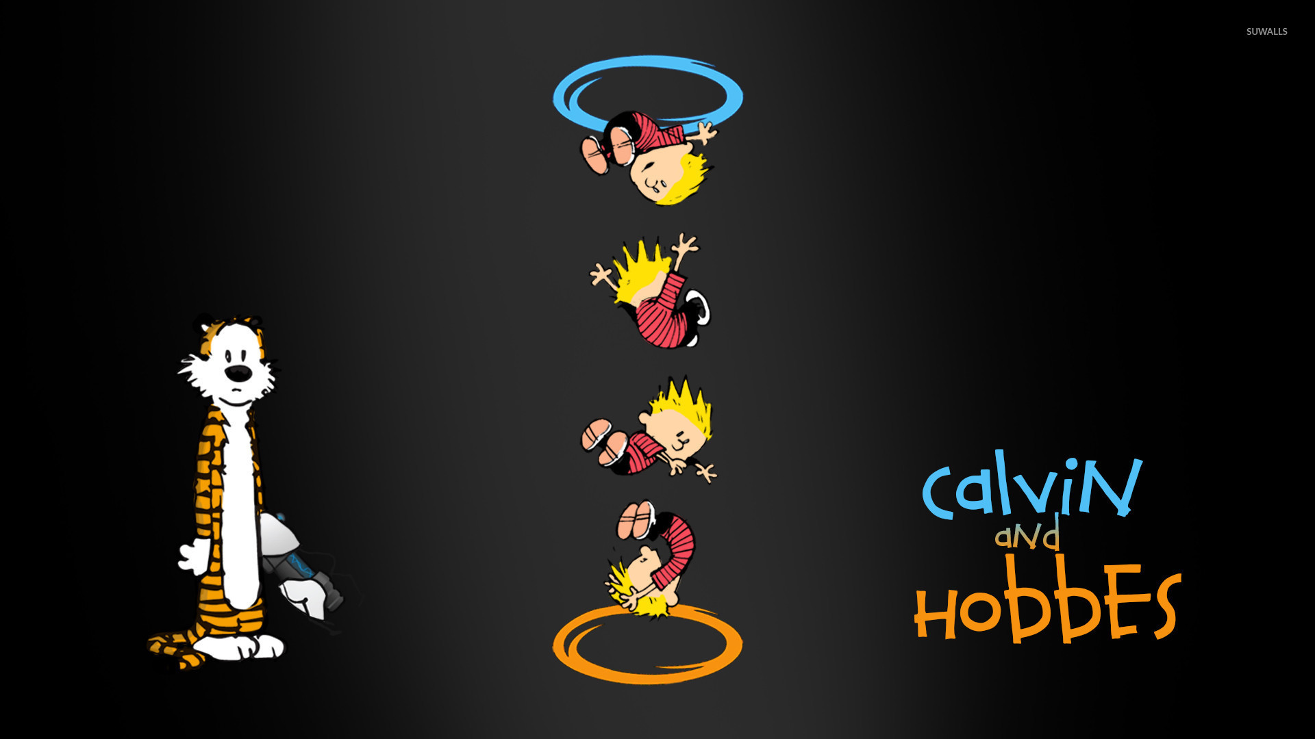 1920x1080 Calvin and Hobbes Portal crossover wallpaper