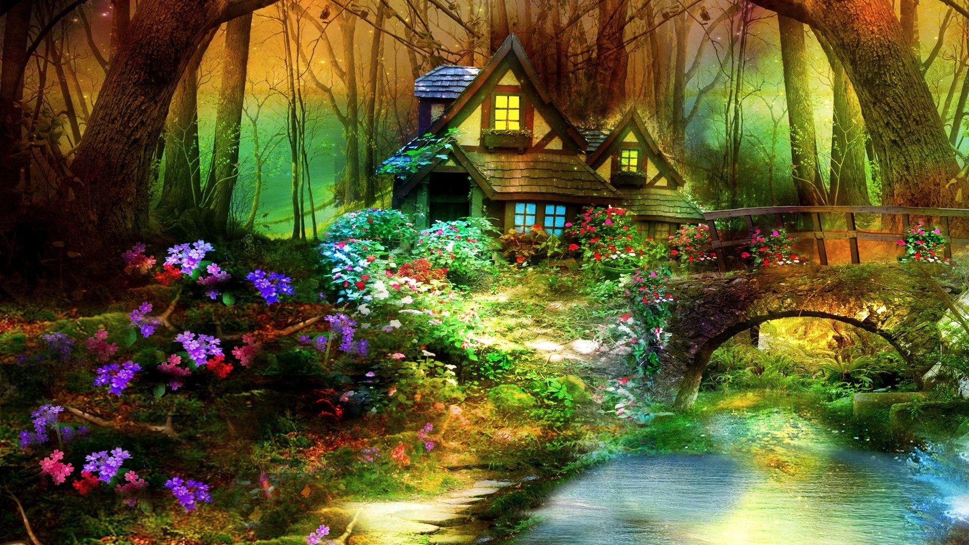1920x1080  Magic House, Magic Home, Magic Fairy Forest House Wallpapers .
