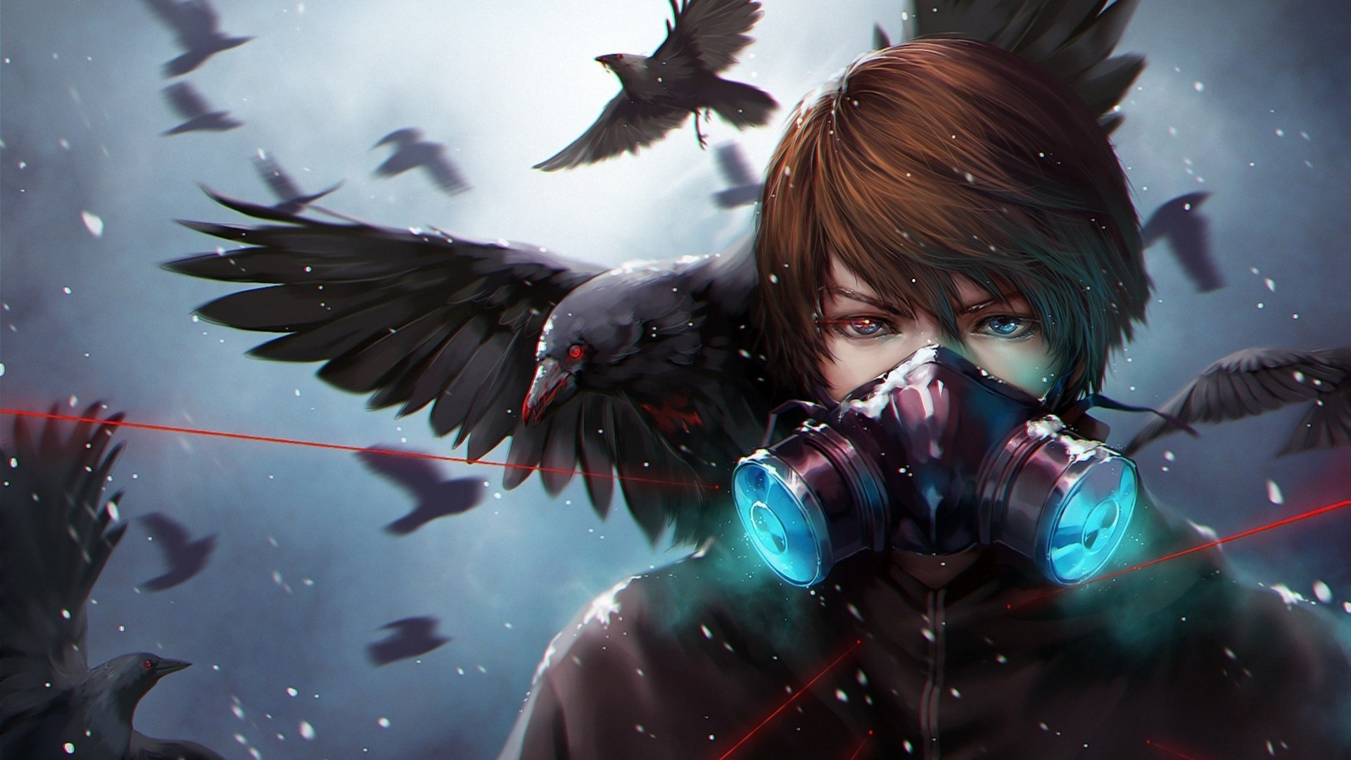 1920x1080 Preview wallpaper anime, crow, mask