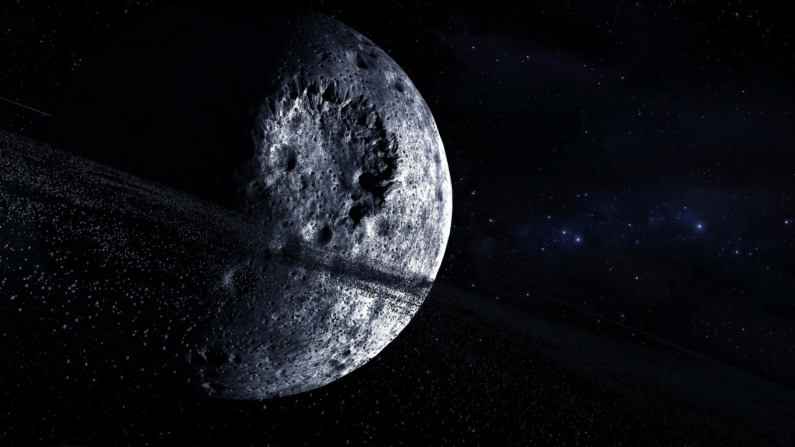 2560x1440 Outer space stars moon crater digital art wallpaper