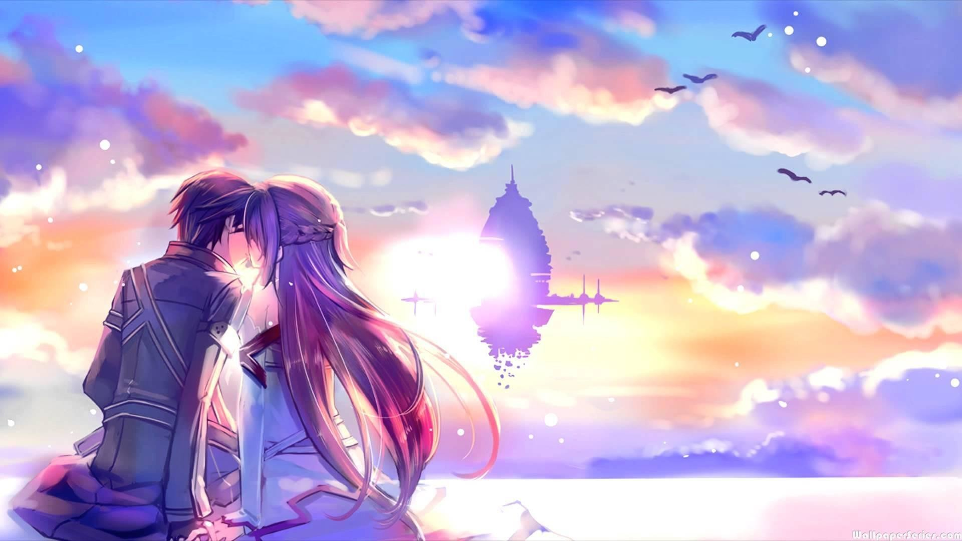 1920x1080 HD Asuna and Kirito Kiss Sword Art Online Wallpaper