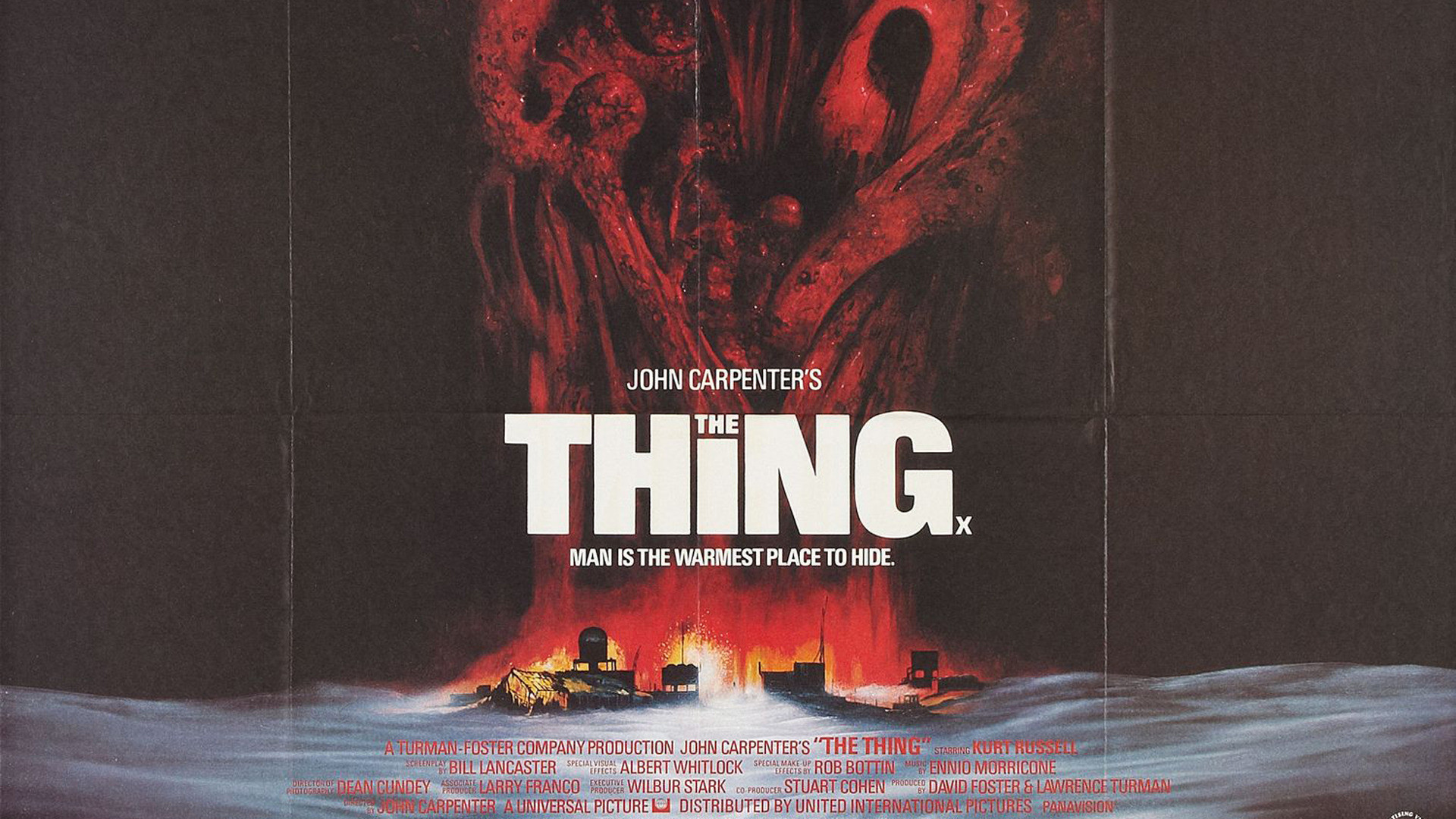 1920x1080 John Carpenter The Thing Movie #poster 1982 Horror film with nod to H.P.  Lovecraft's Cthulhu