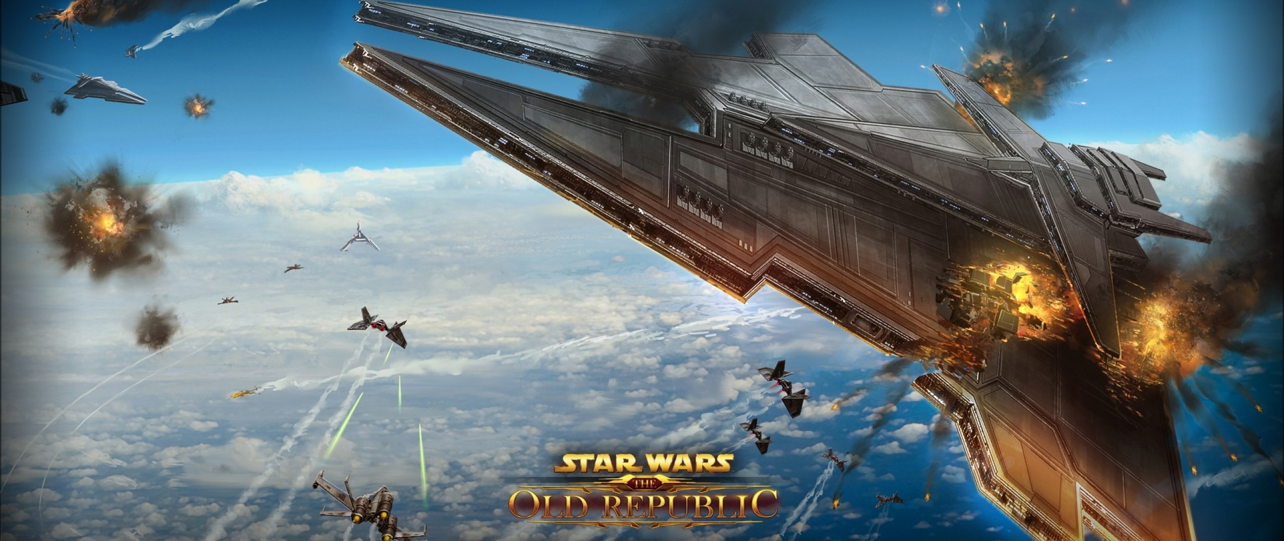 2560x1080  Wallpaper star wars the old republic, airships, battle,  explosion, planet