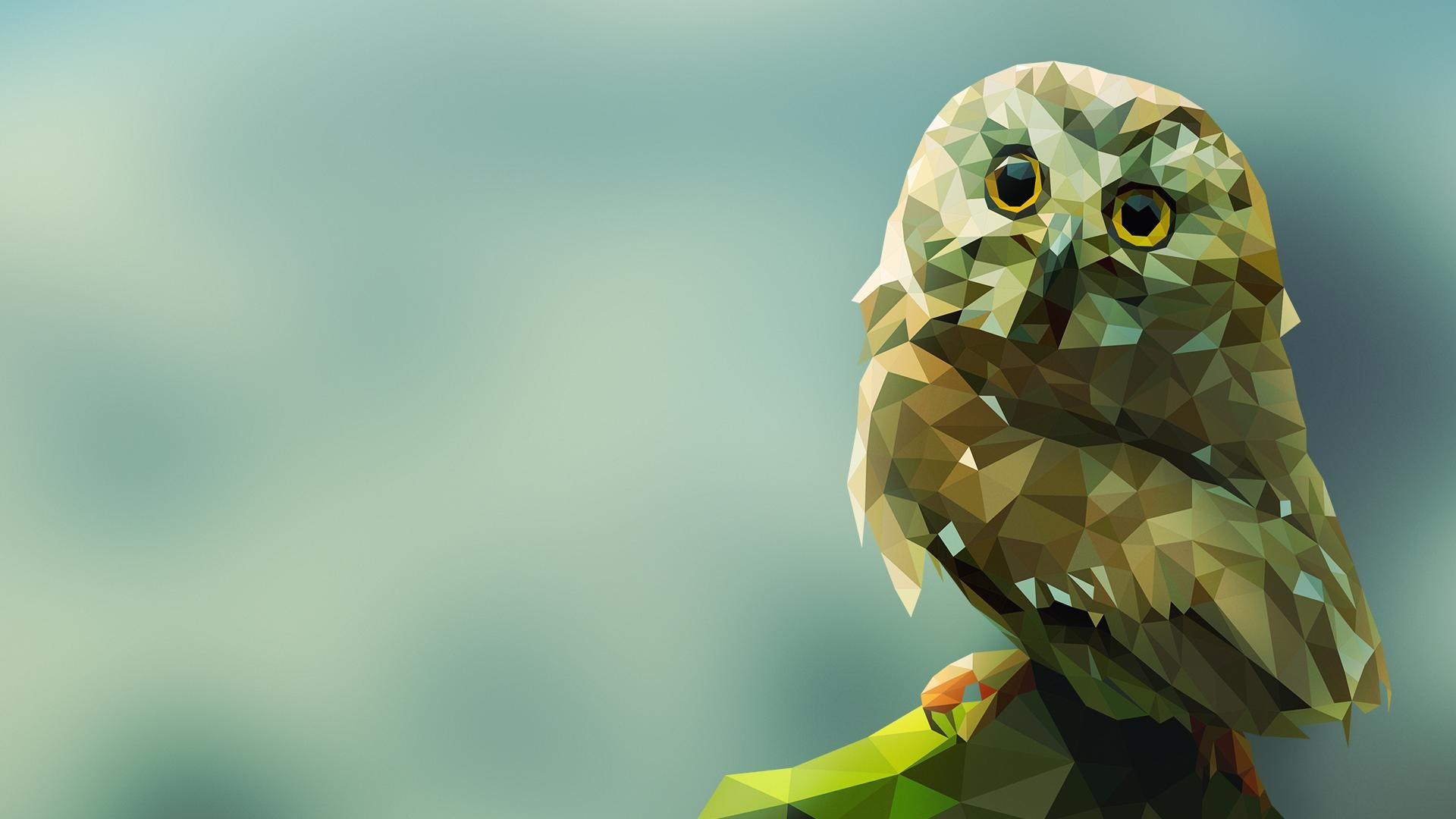 1920x1080 Low Poly Owl [] ...