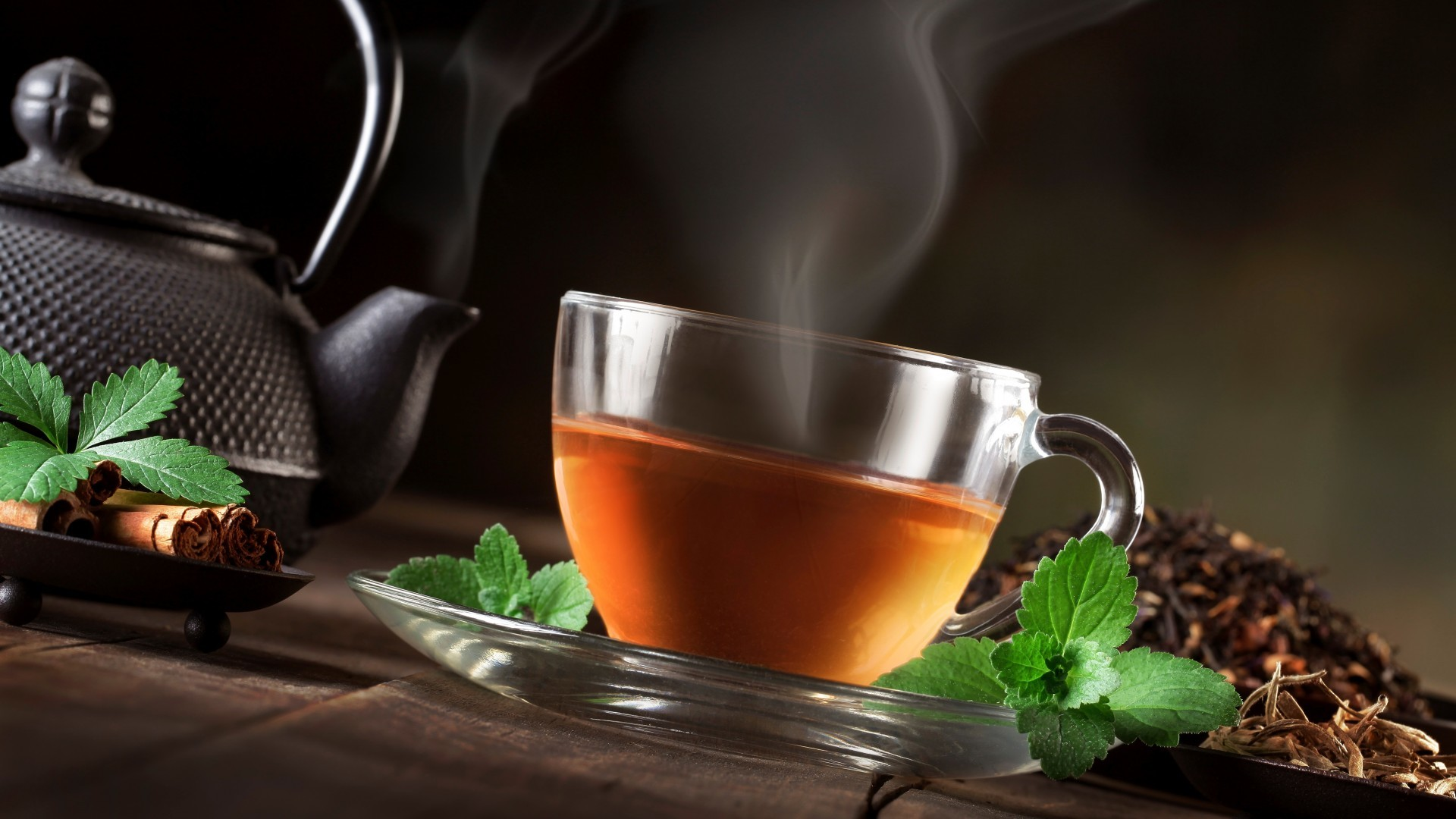 1920x1080 Download-tea-mint-leaves-teapot-cup-steam-cinnamon-