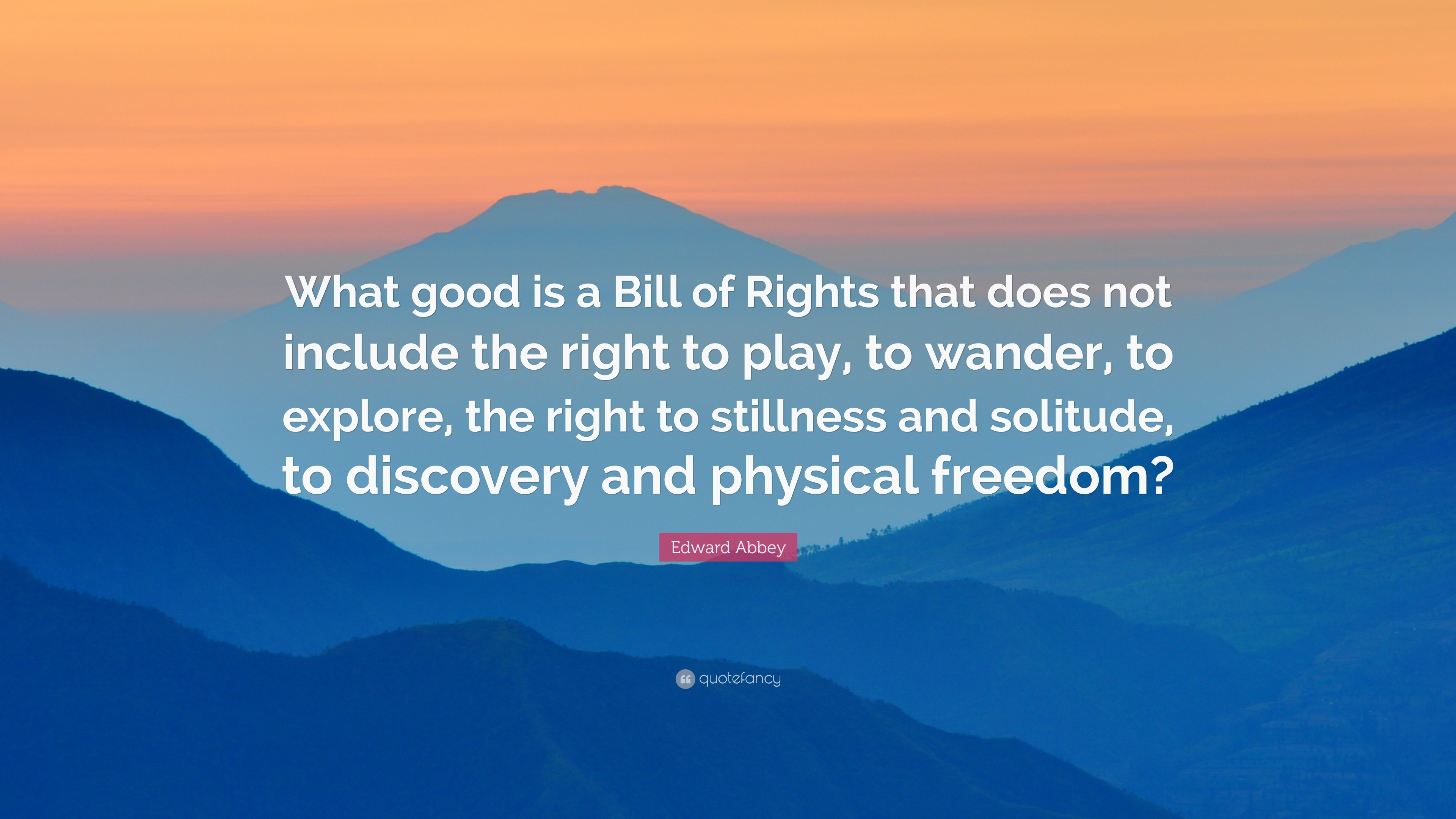 "3840x2160 Edward Abbey Quote: ""What good is a Bill of Rights that does not include"