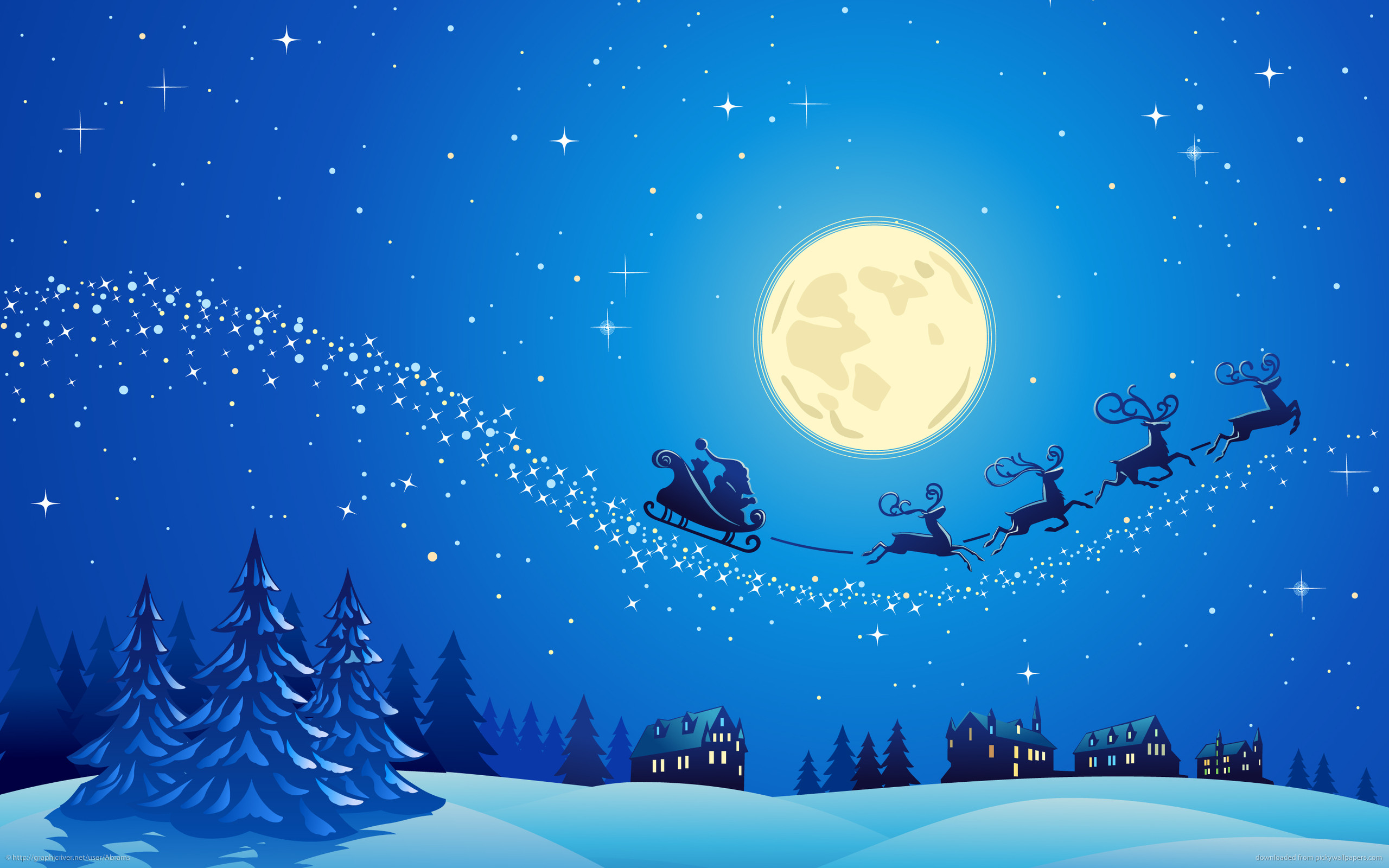 2560x1600 Christmas Eve Santa Claus Raindeer Sleigh Moon Desktop Wallpaper Uploaded  by DesktopWalls