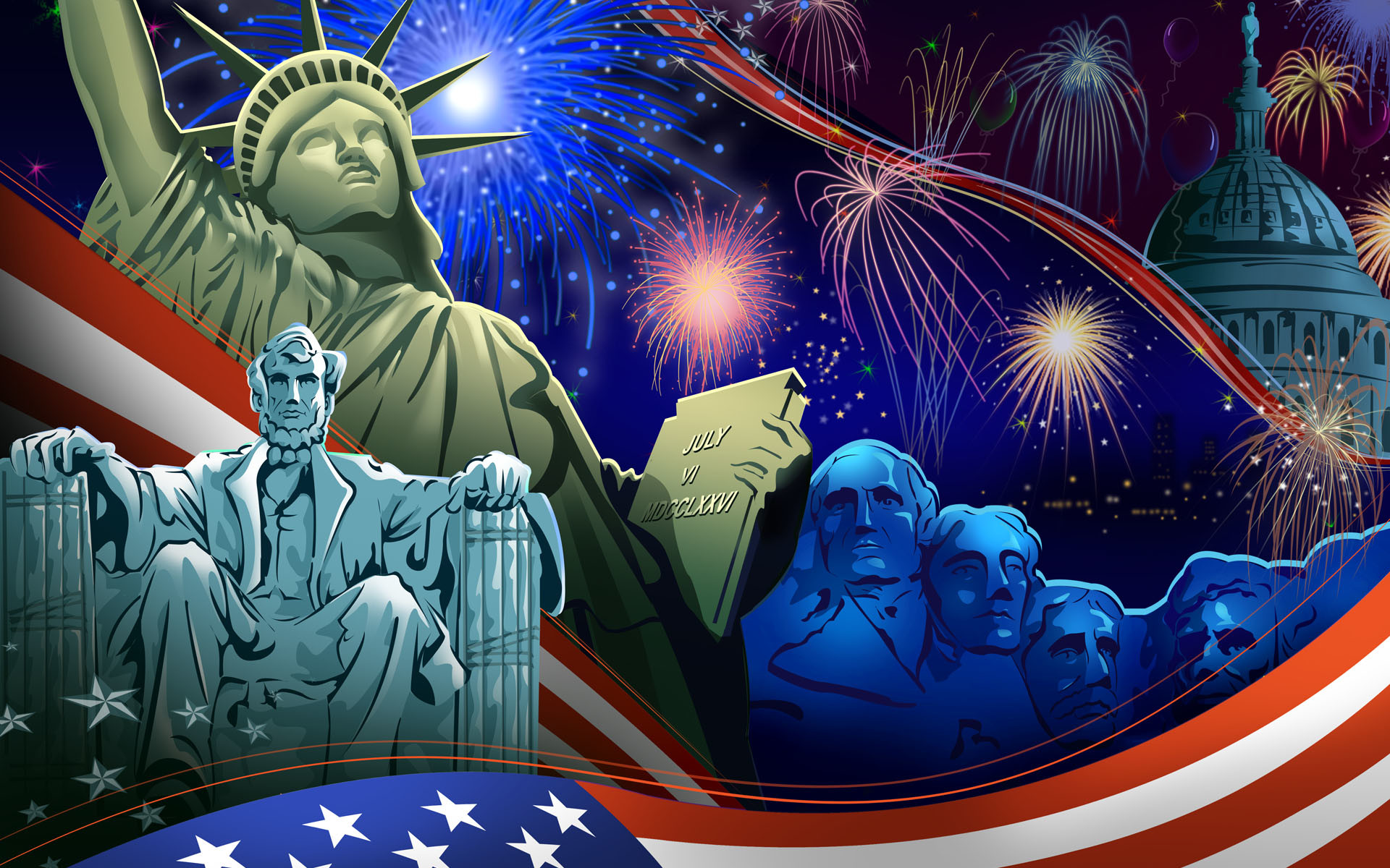 1920x1200 Statue of Liberty Independence Day Wallpaper