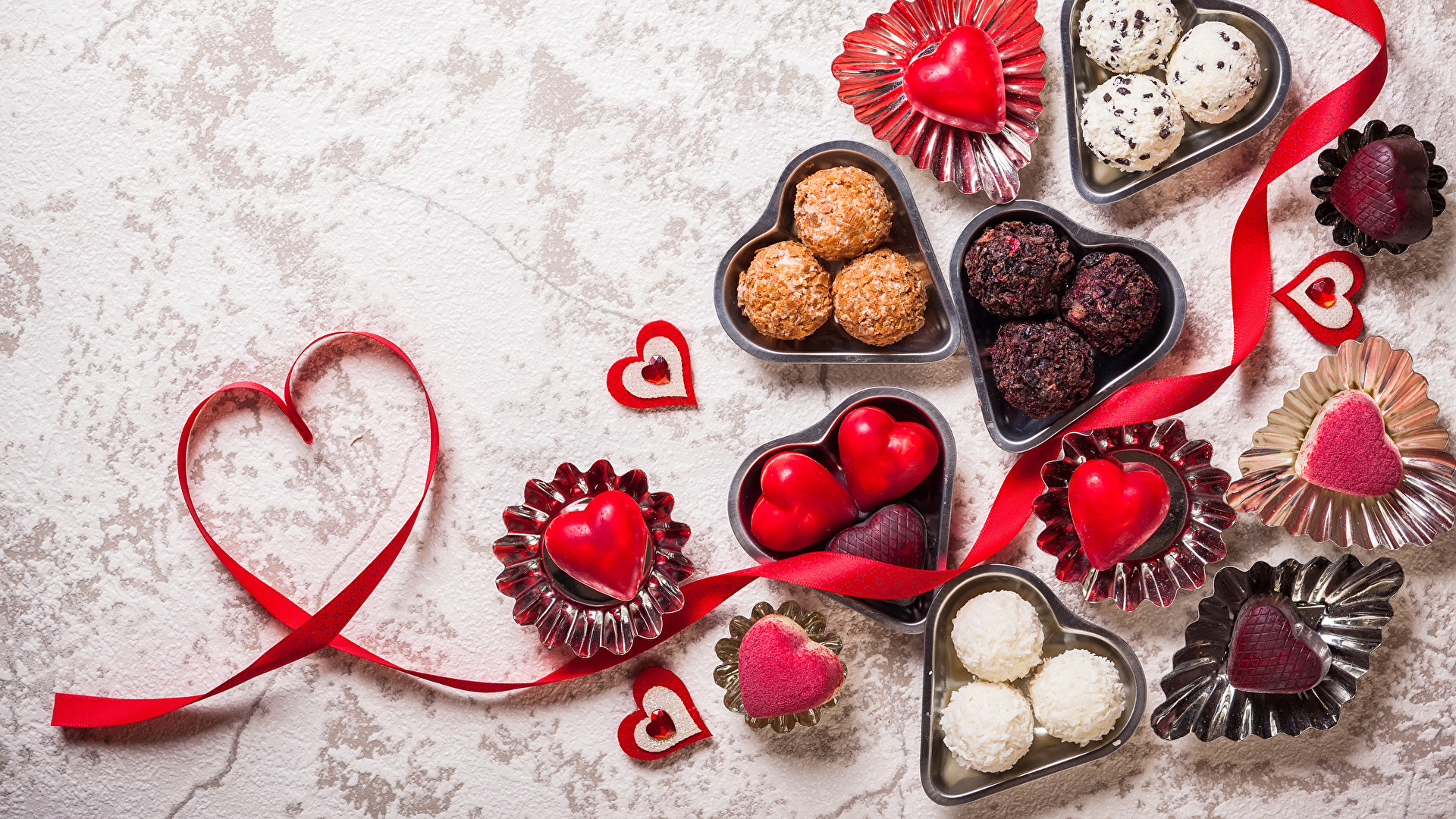 1920x1080 Image Valentine's Day Heart Candy Food Ribbon Sweets