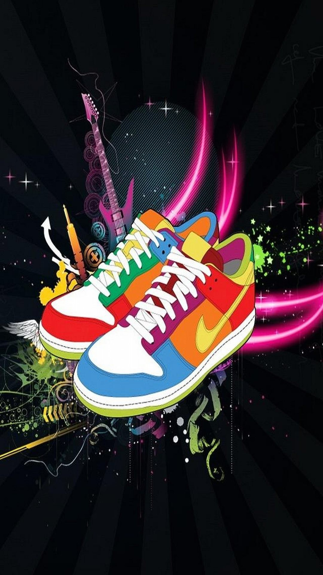 1080x1920 Art Multicolored Nike Shoes Black Cool Sneakers. Abstract Iphone WallpaperApp  WallpaperWallpaper BackgroundsNike ...