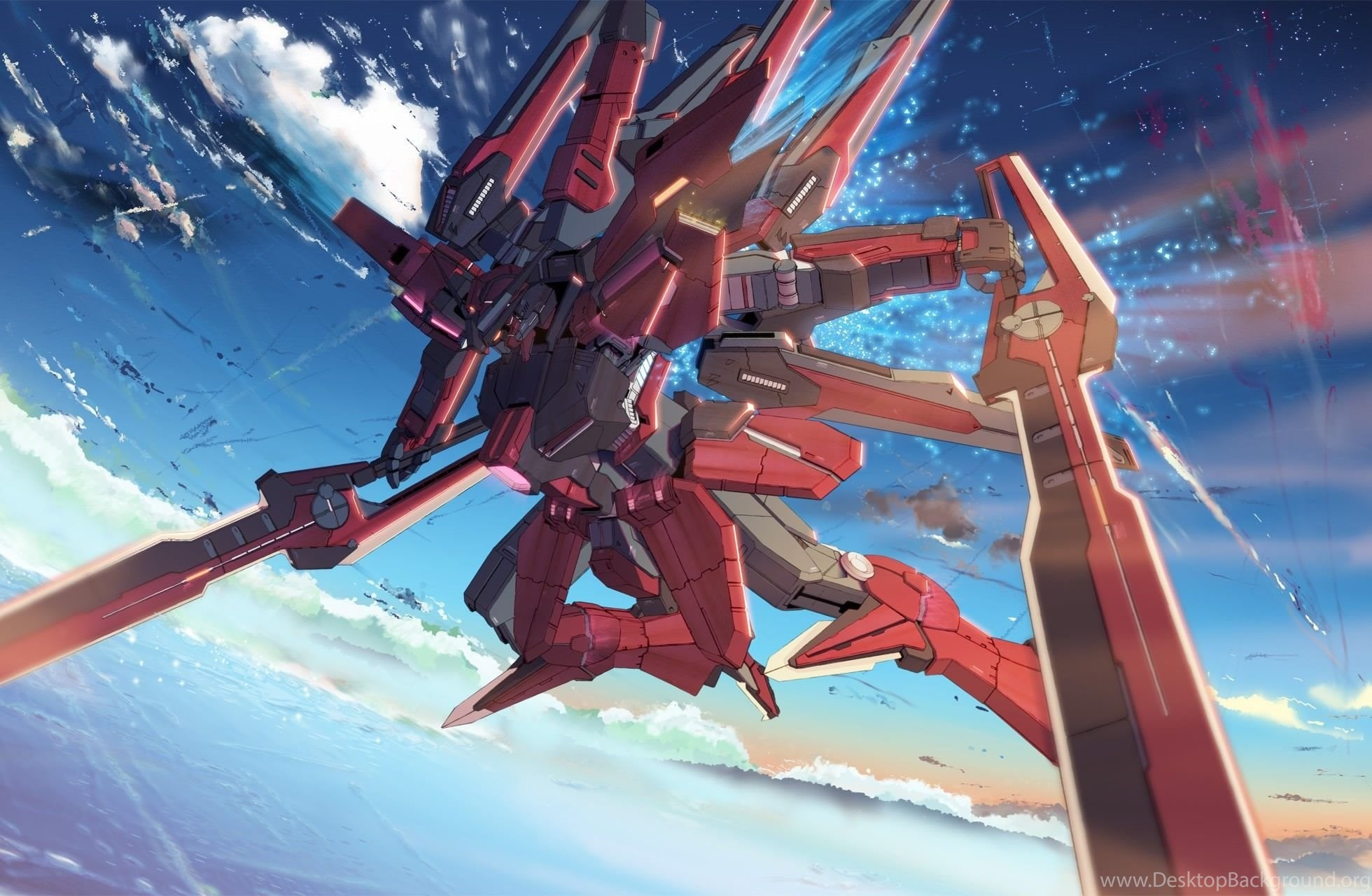 1960x1280 Mecha Gundam Wing Anime Skyscapes Wallpapers