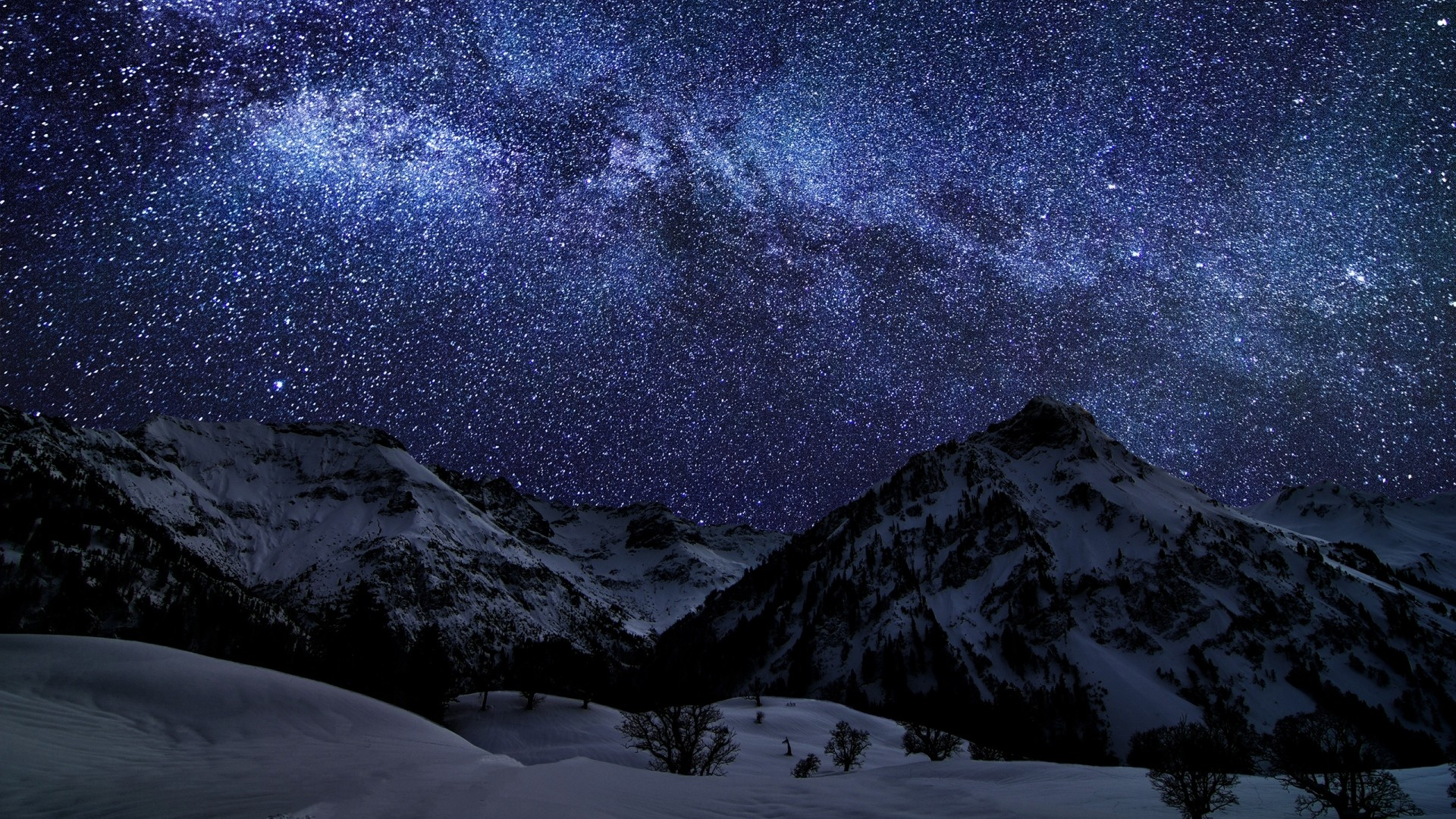 1920x1080 Preview wallpaper winter, sky, stars, nature, night