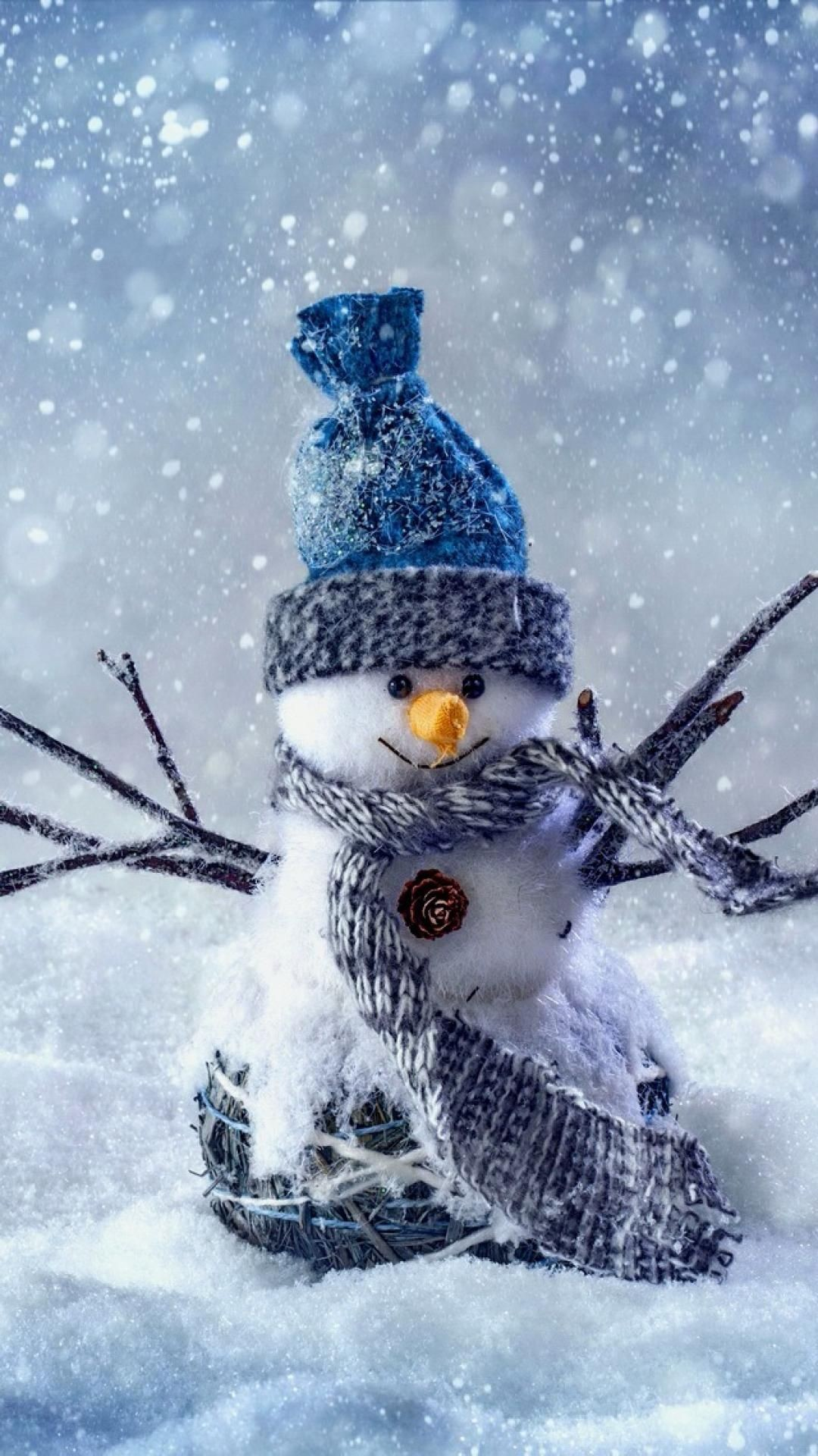 1080x1920 Snowman - Winter - Blue Christmas - Originally from - We Heart It