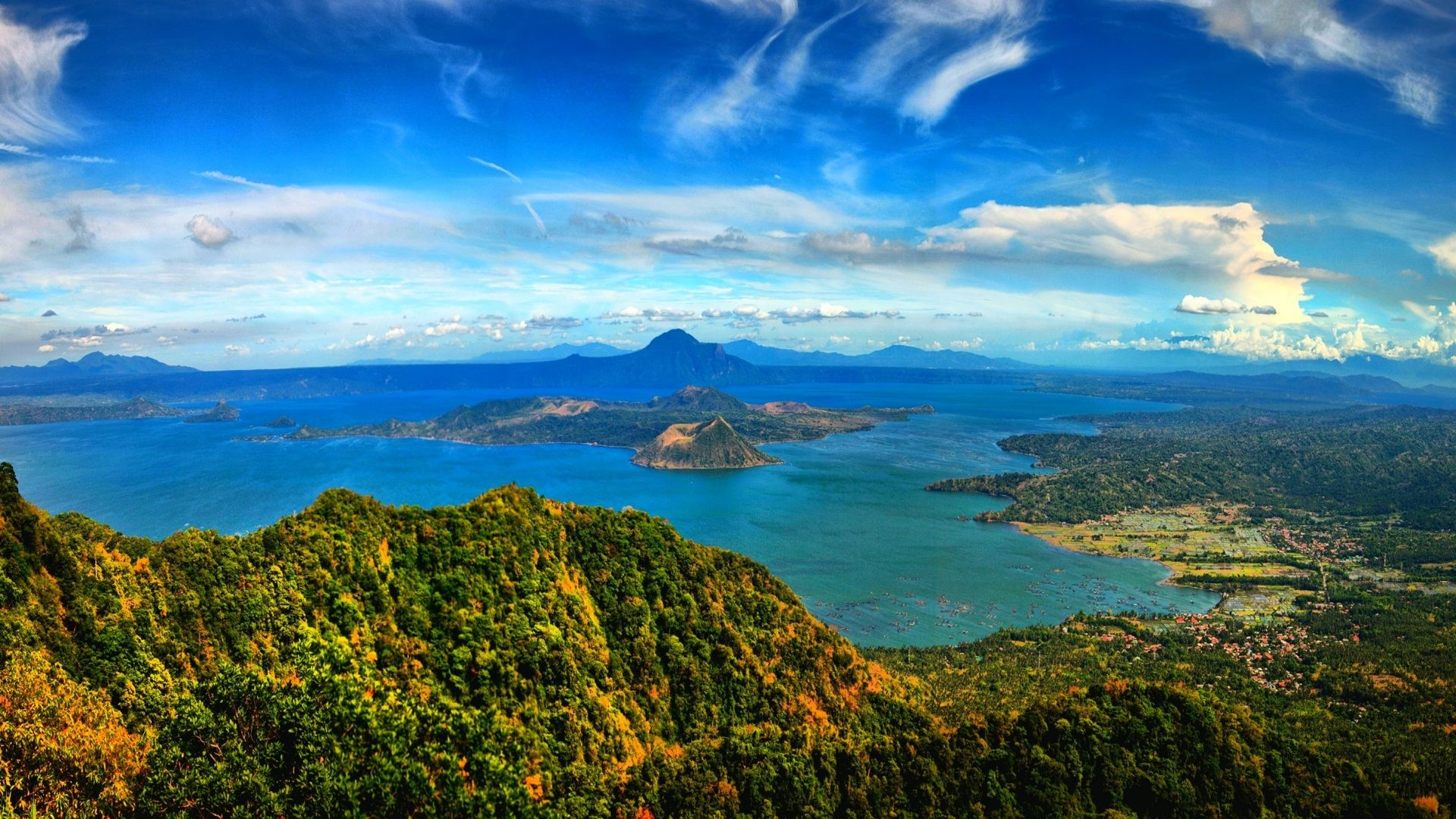 1920x1080 Sky Tag - Beautiful City Taal Volcano Caldera Lake Philippines Panorama  Clouds Sky Mountain Island Crater
