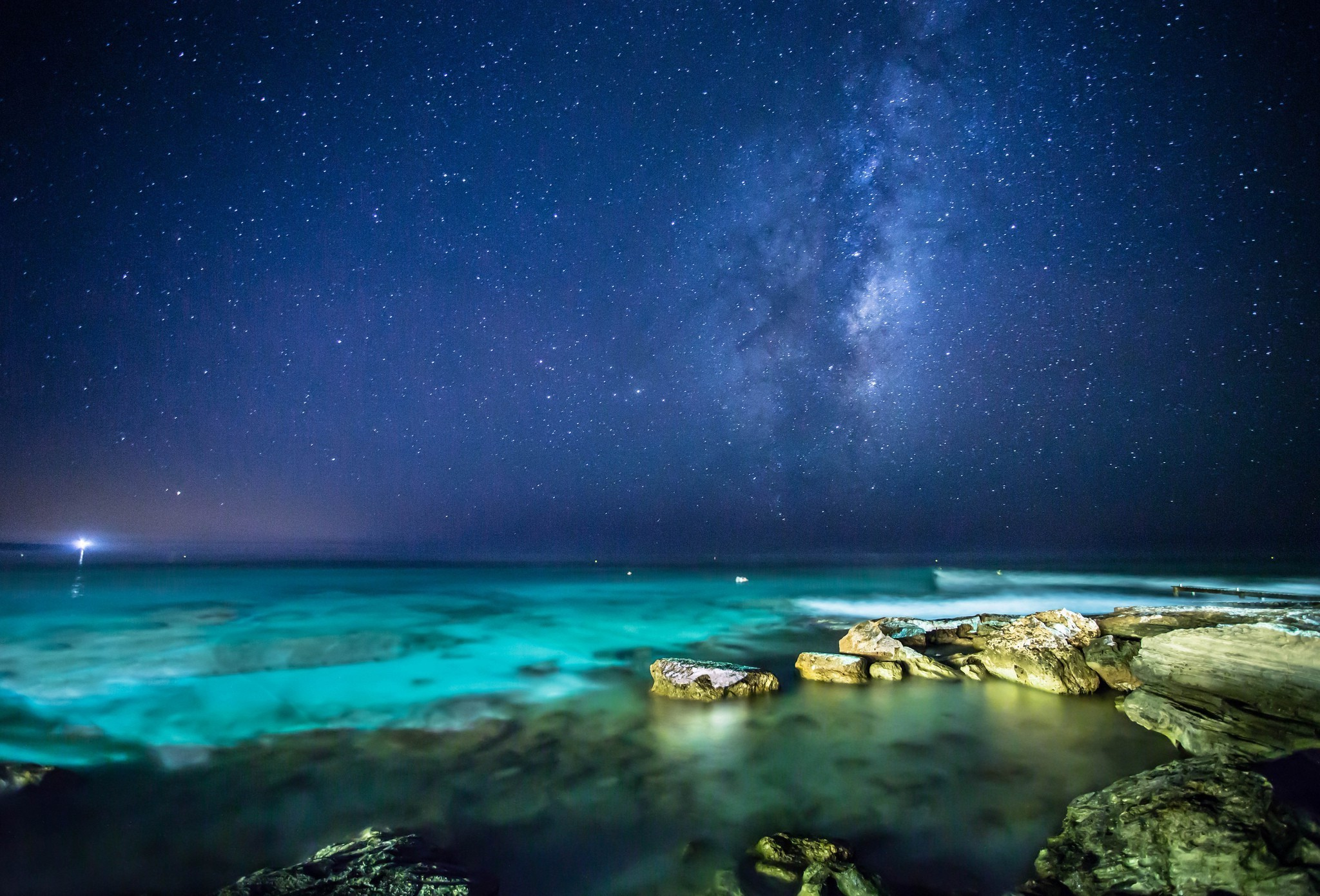 2048x1390 landscape, Sea, Night, Stars Wallpapers HD / Desktop and Mobile Backgrounds