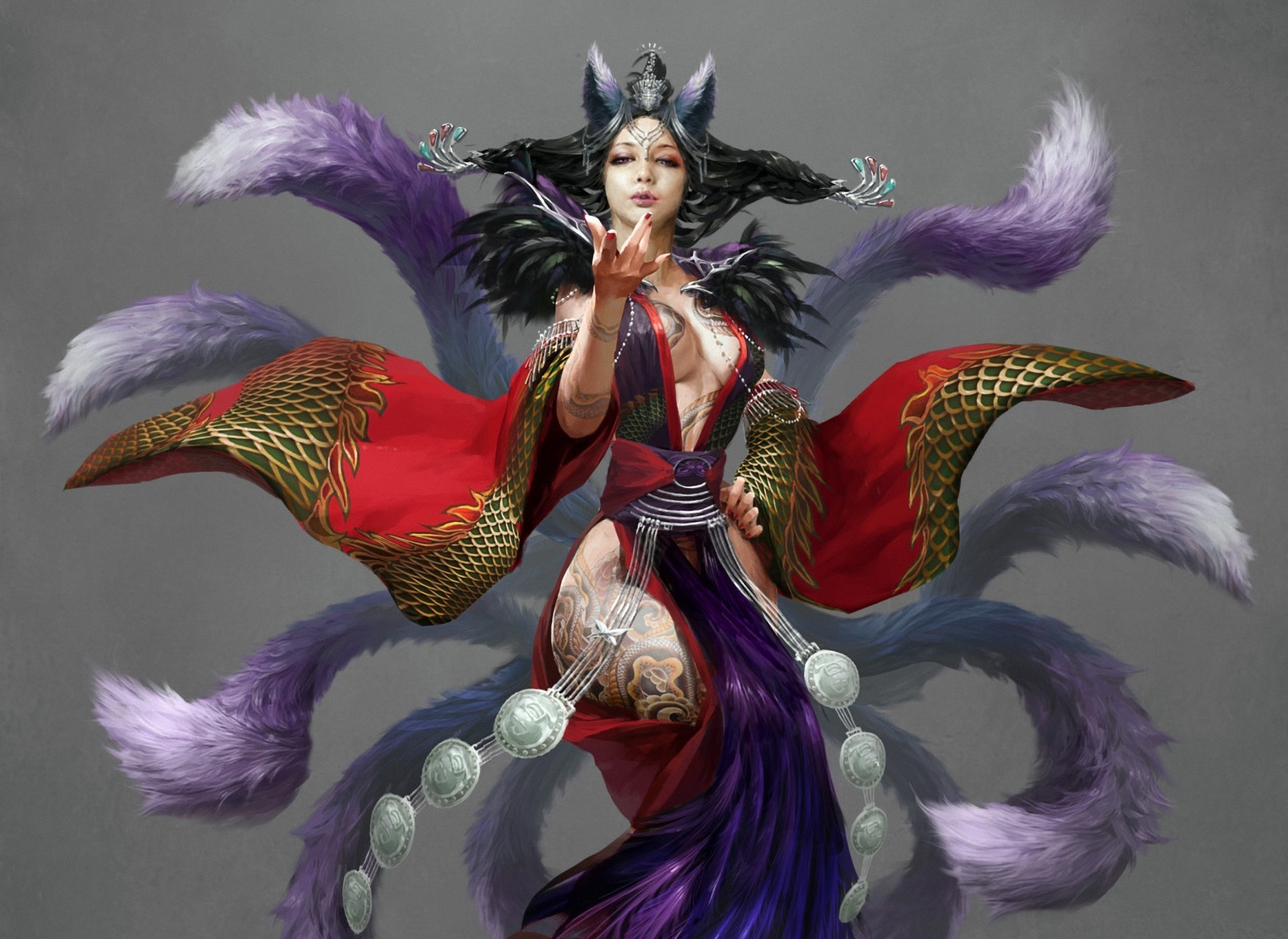 1920x1401 digital-painting-ahri-nine-tailed-fox-hauntingly-league-of-legends hd  wallpaper