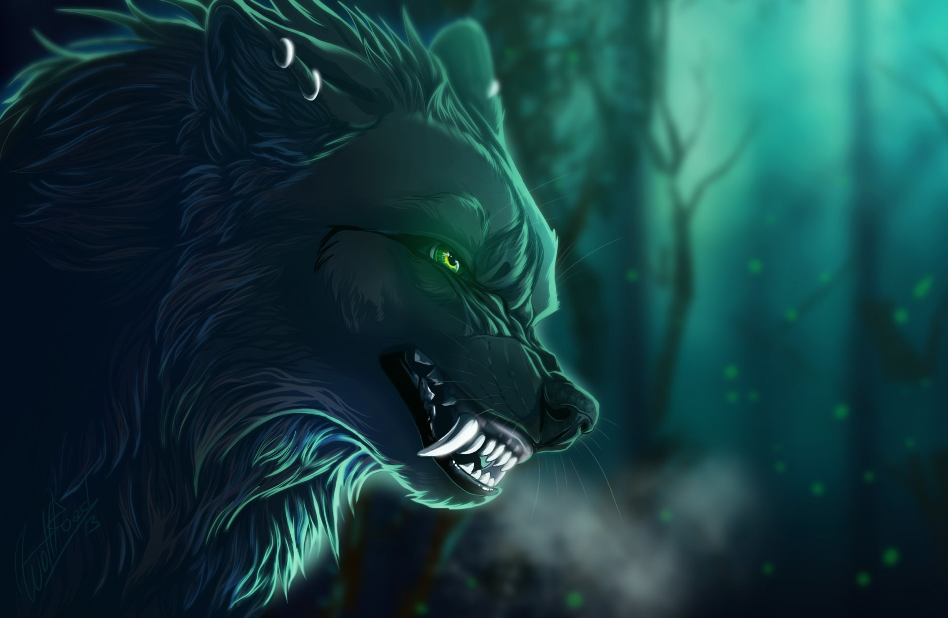 1920x1252 art animals wolf fall fangs view background branches