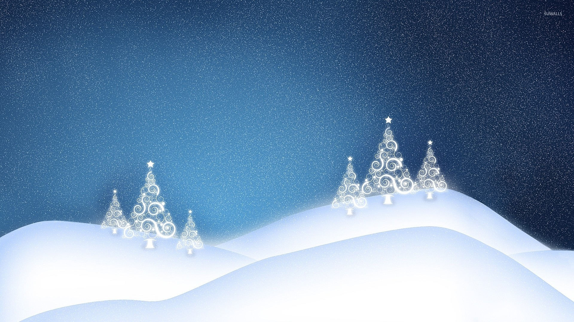 1920x1080 White glowing Christmas tree on the snowy hills wallpaper  jpg