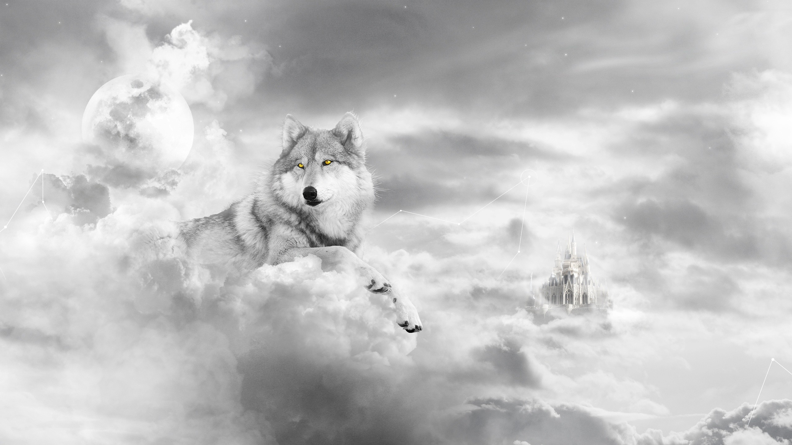 2560x1440 Animal - Wolf Artistic Castle Cloud Dog Black & White Animal Moon Fantasy  White Wallpaper