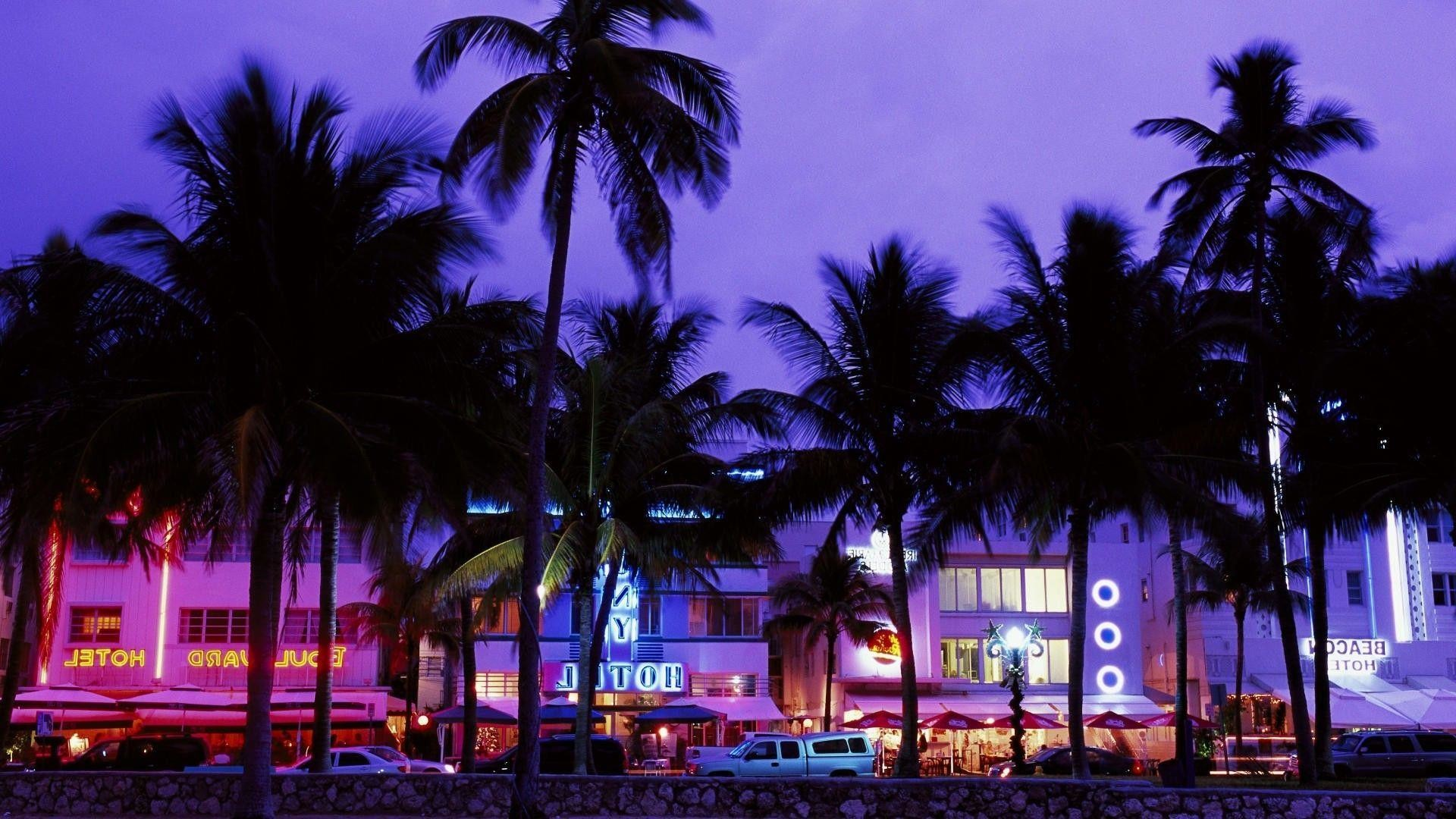 1920x1080 Grand Theft Auto Vice City, Hotels, Beach, Palm Trees, Neon .