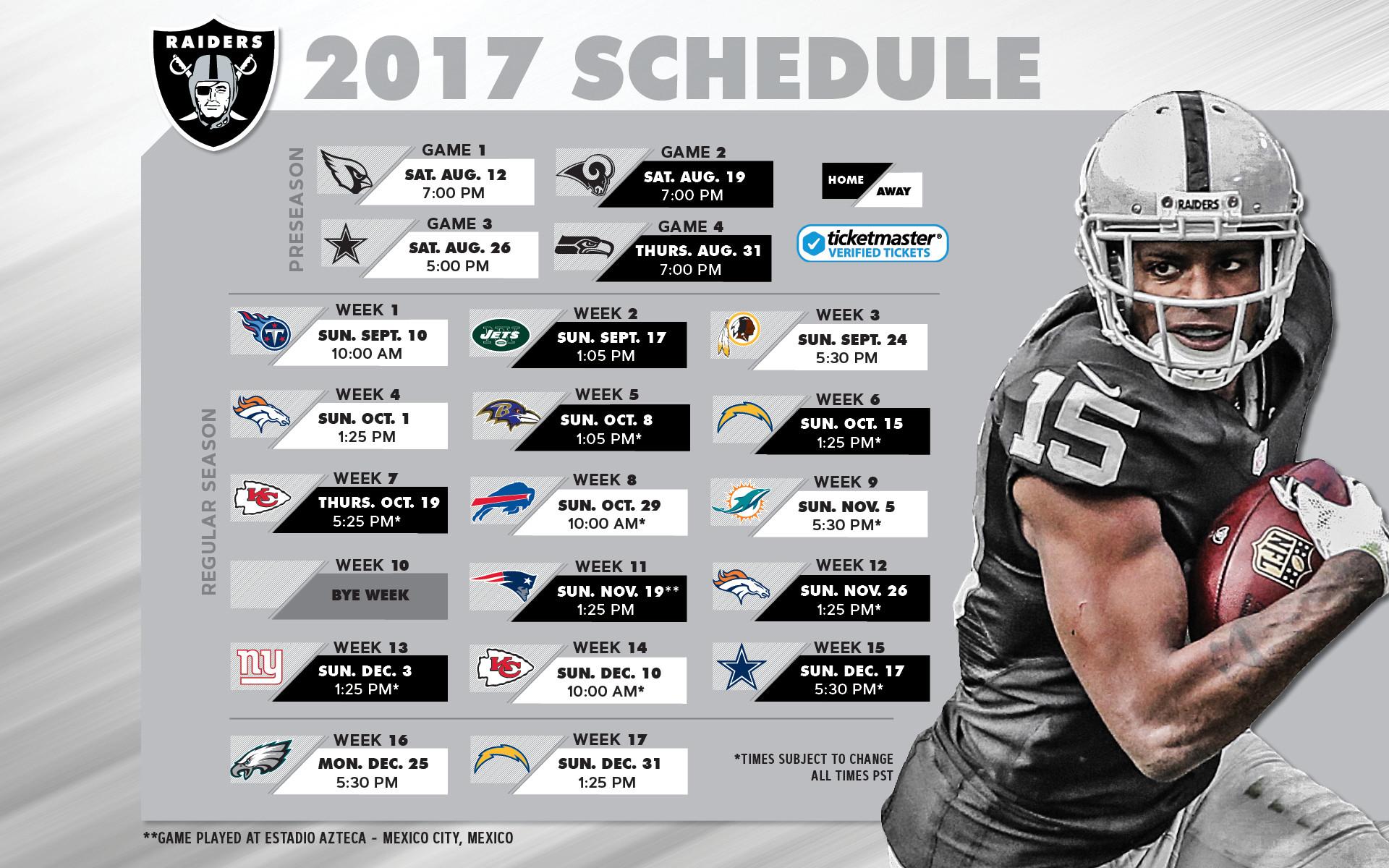 Gratifying image regarding raiders printable schedule