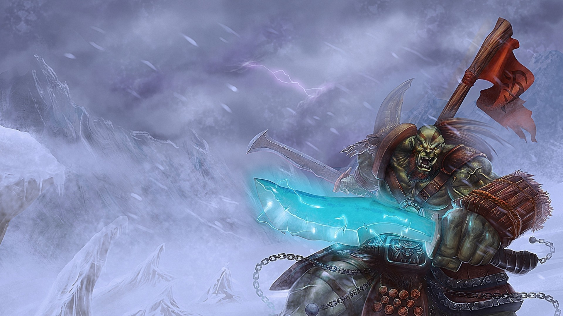 1920x1080 Preview wallpaper world of warcraft, orc, banner, snow, sword