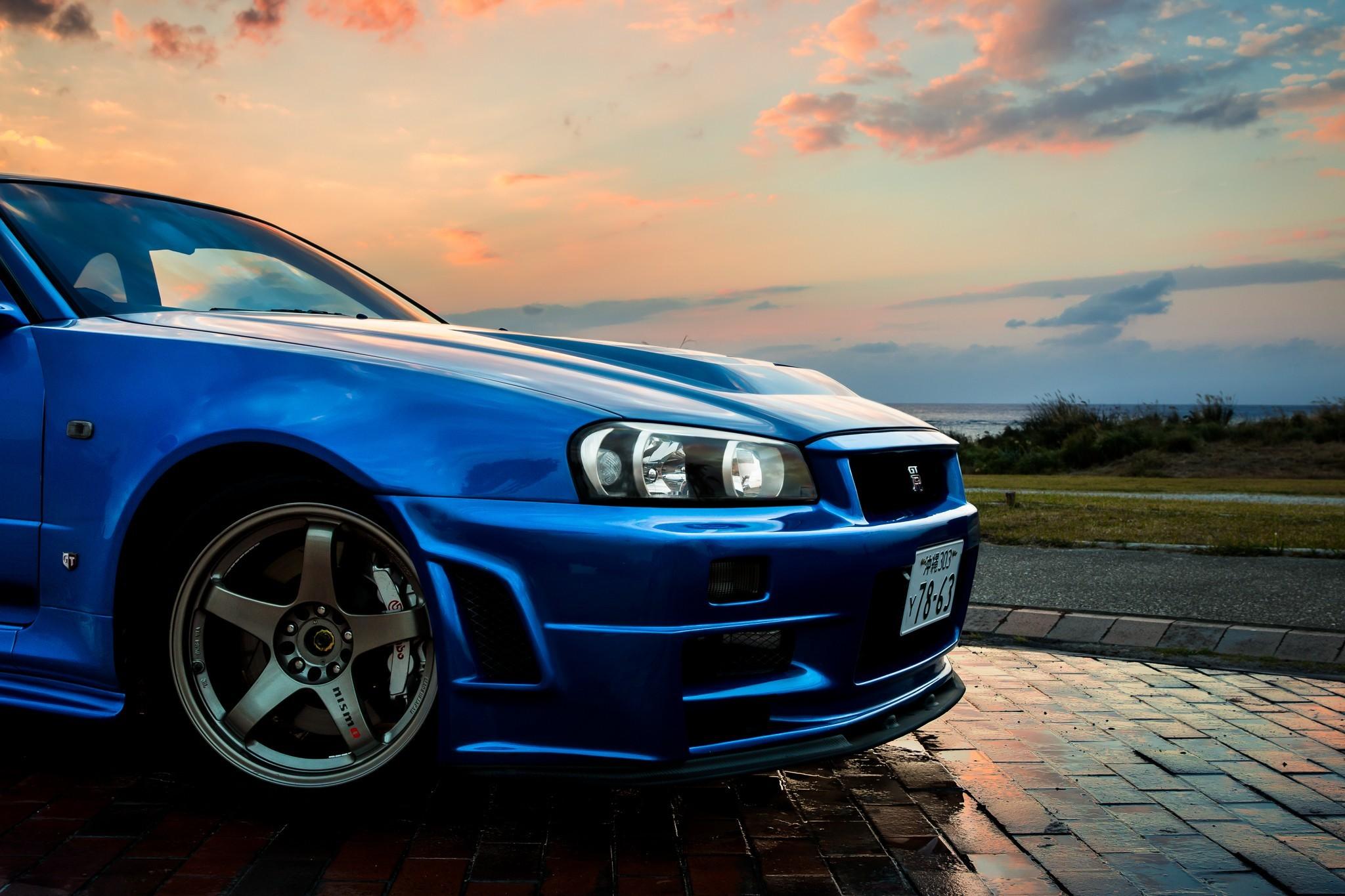 2048x1365 Nissan Skyline GT R R34 Car Blue JDM Wallpapers HD