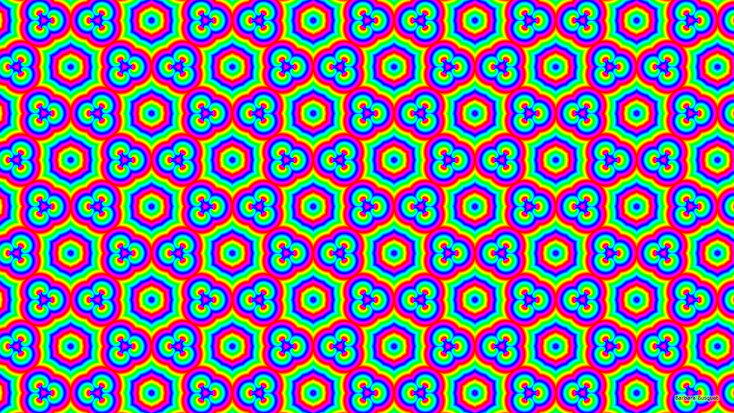 2560x1440 Shapes pattern wallpaper rainbow colors.