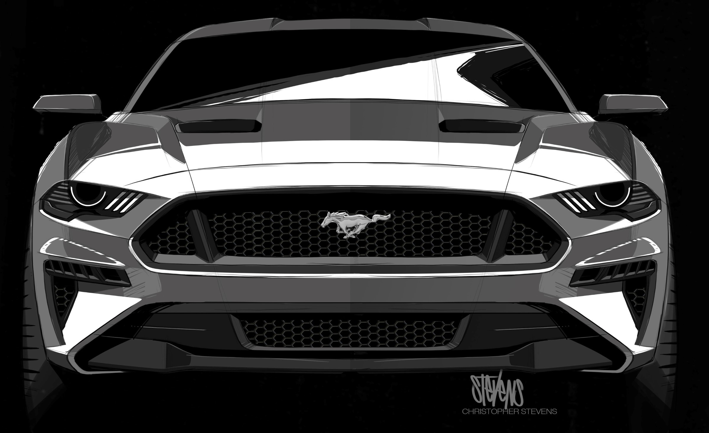2400x1467 2018 Ford Mustang - design sketch