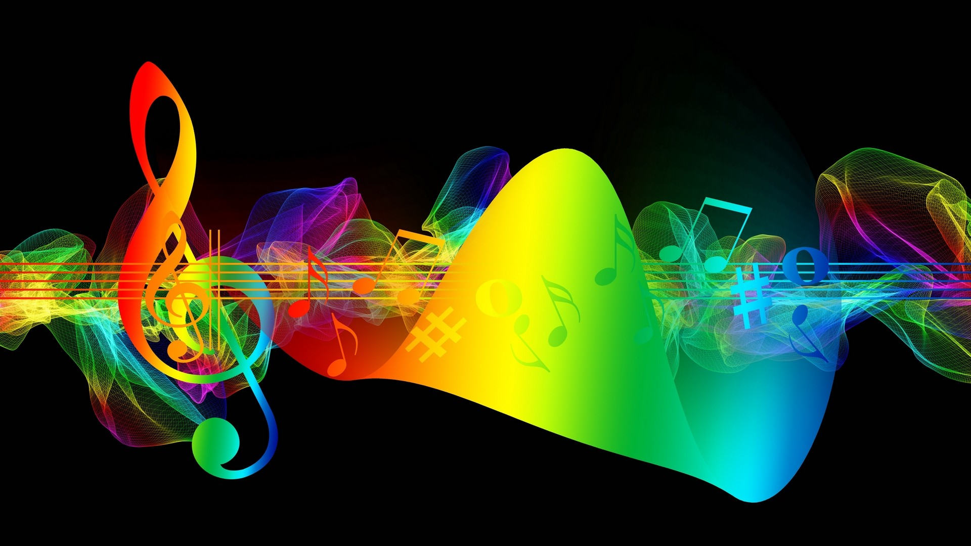 1920x1080  Wallpaper treble clef, musical notes, multicolored, rainbow