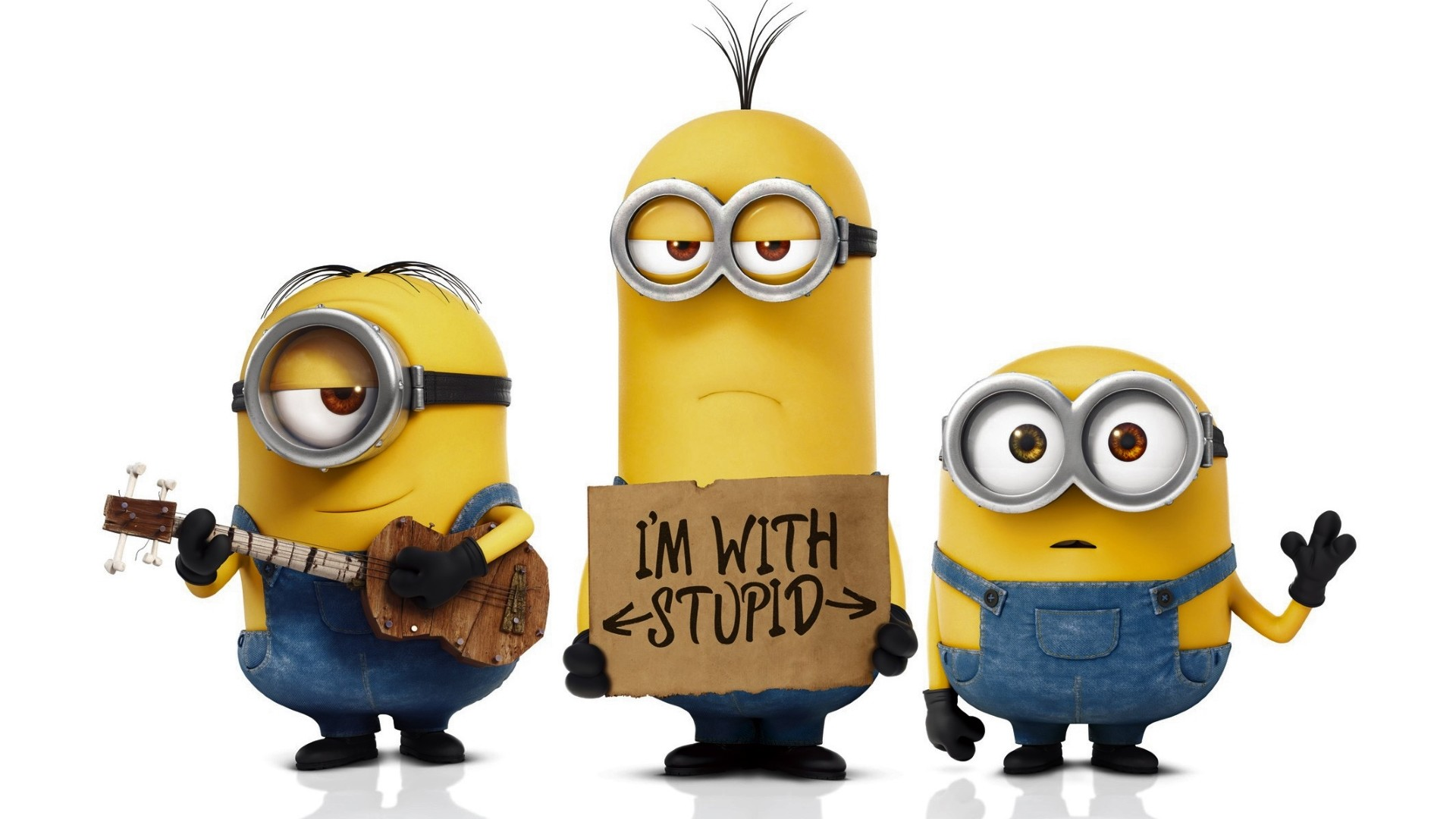 1920x1080 3 funny Minions desktop background:
