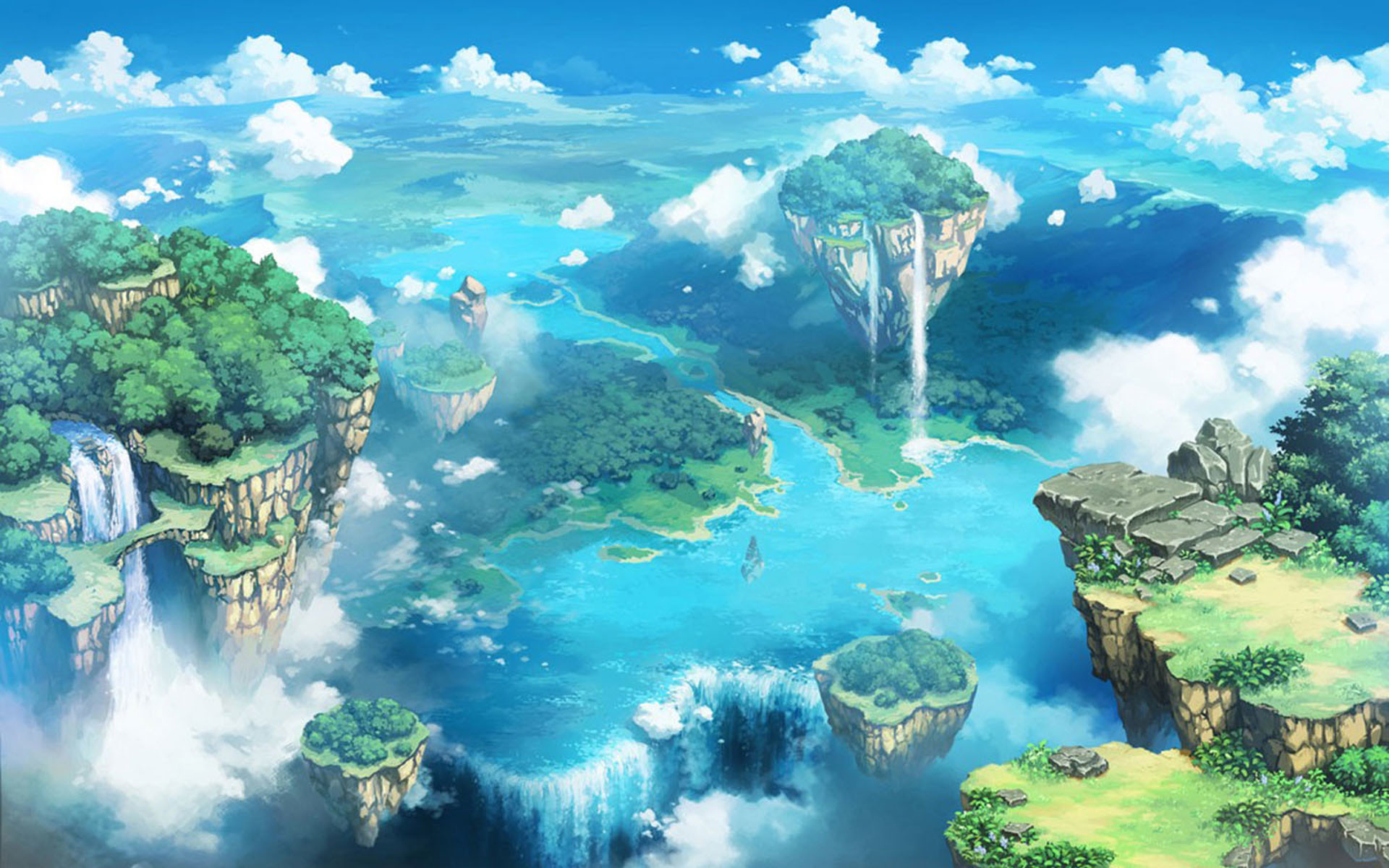 1920x1200 Comics desktop background of the blue sky and white clouds fairy tale  landscape wallpaper